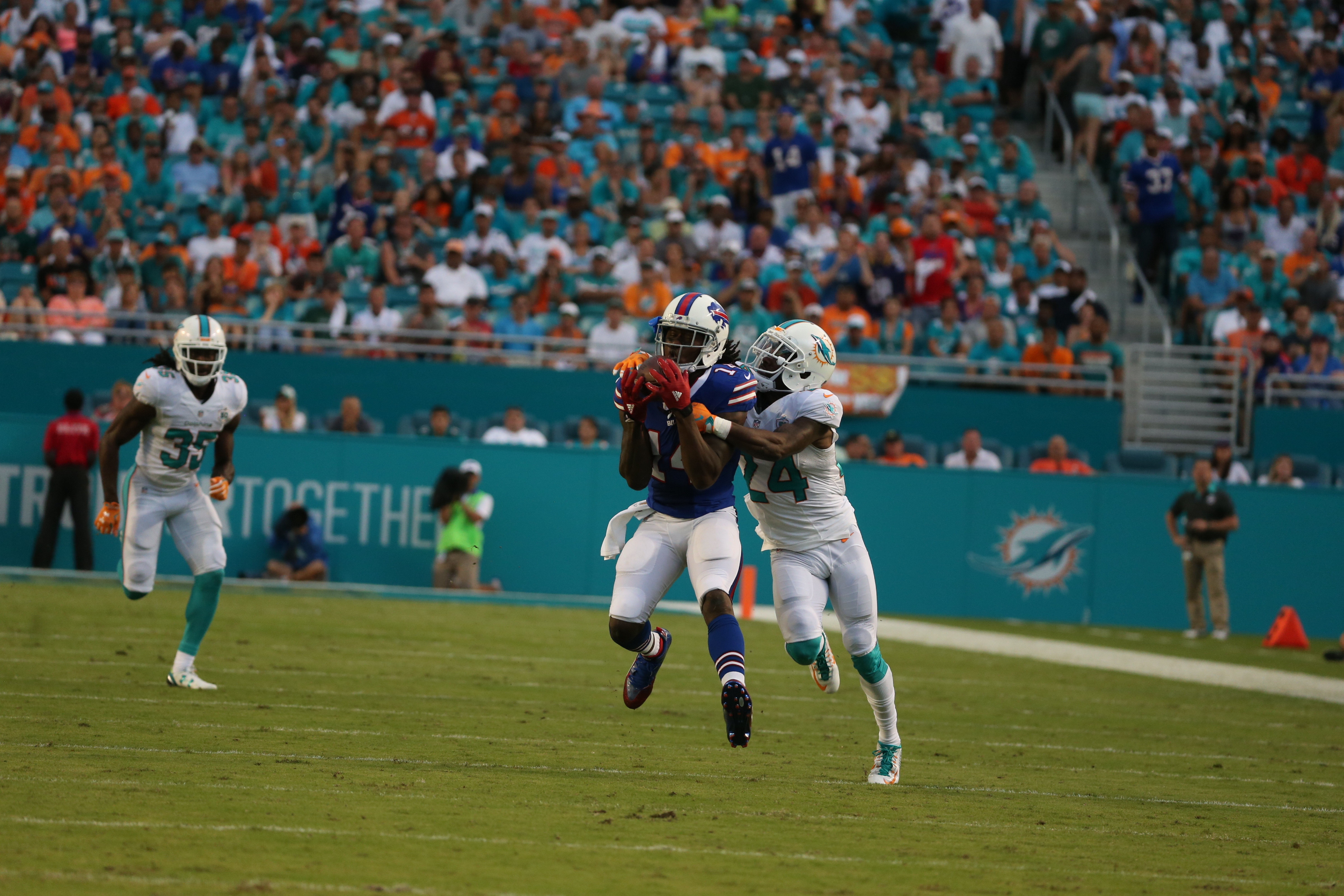Bills wide receiver Sammy Watkins catches the ball over a Dolphins defender during the Sept. 27 game in Miami.
