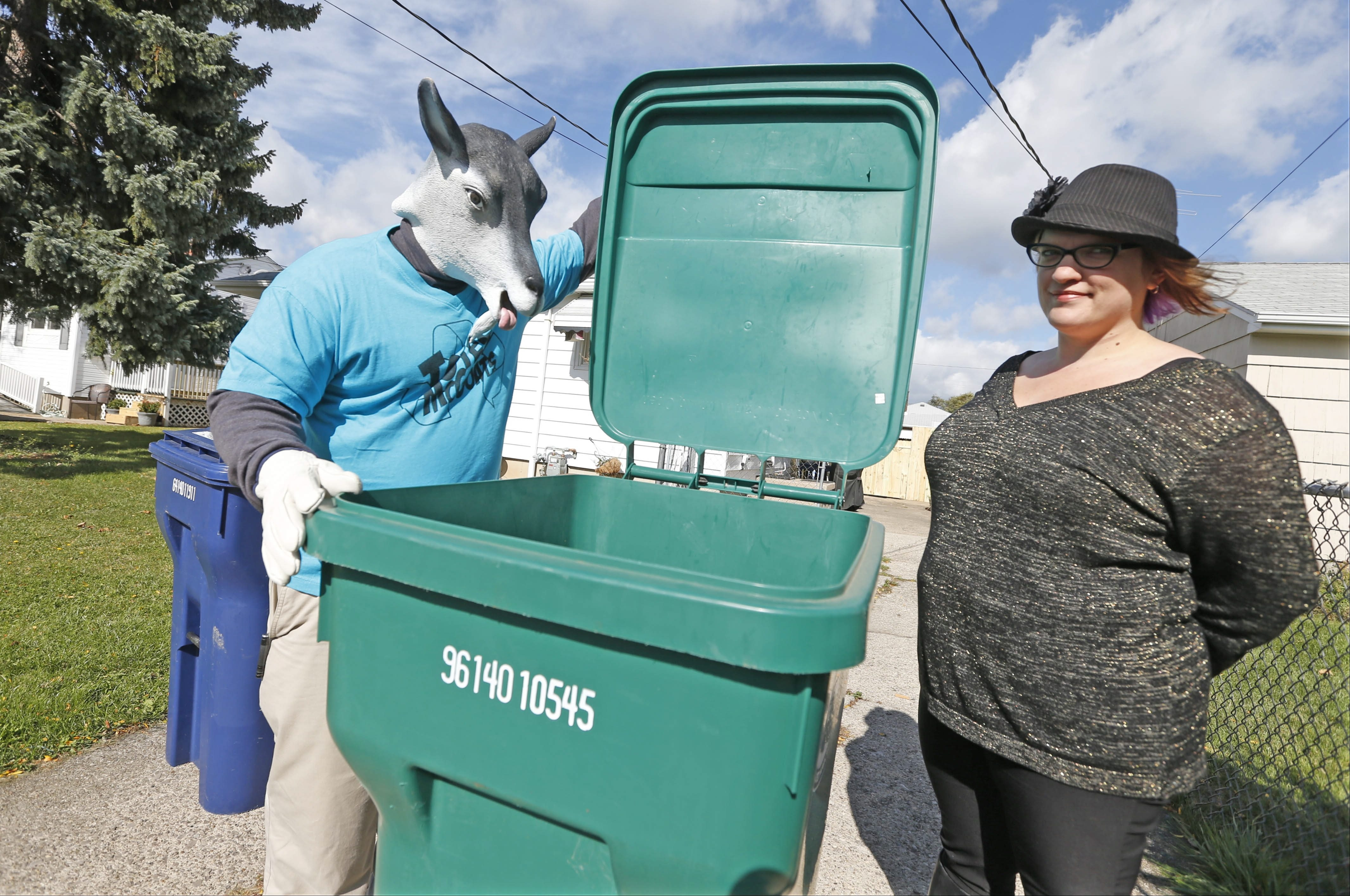 Totes McGoats made an appearance at a park on Jerauld Street in Niagara Falls Thursday with Brook D'Angelo.