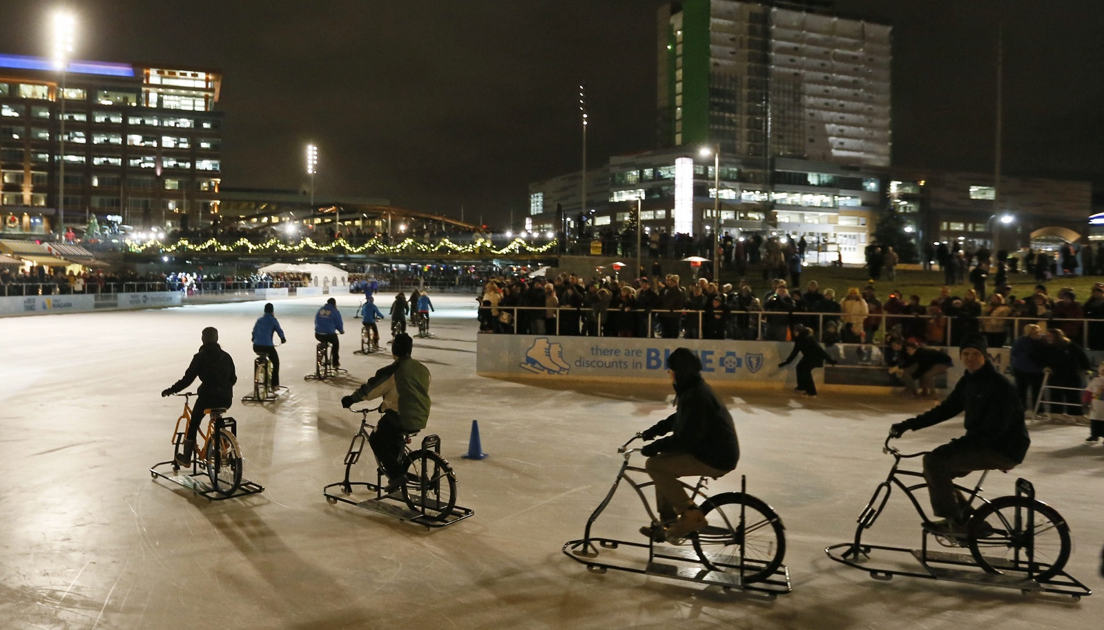 Ice Bikes of Buffalo gives a demonstration during the grand opening celebration of The Ice at Canalside, Dec. 18, 2014.  (Derek Gee/Buffalo News file photo)