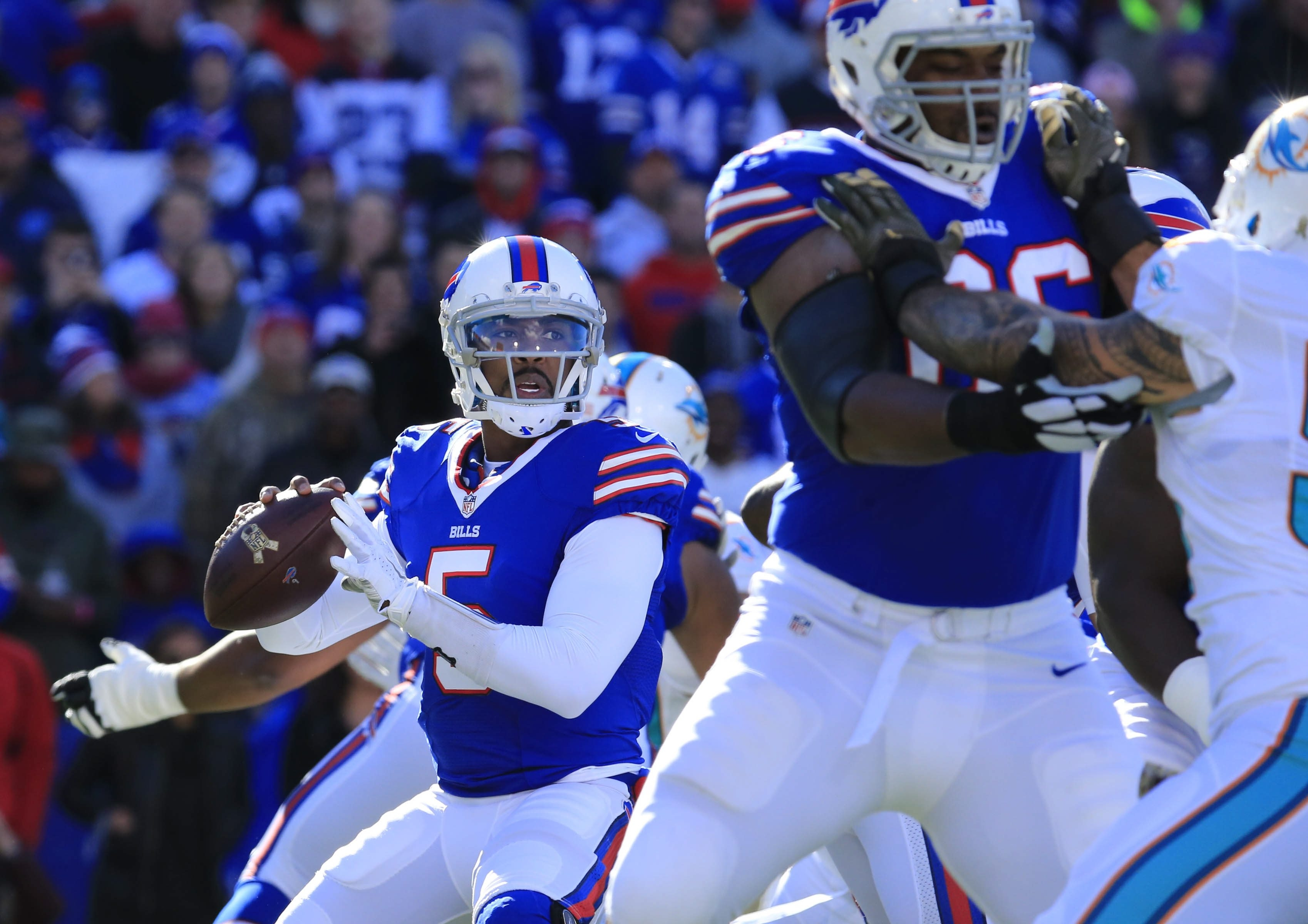 The results of this year's draft were good news for quarterback Tyrod Taylor. (James P. McCoy/Buffalo News)