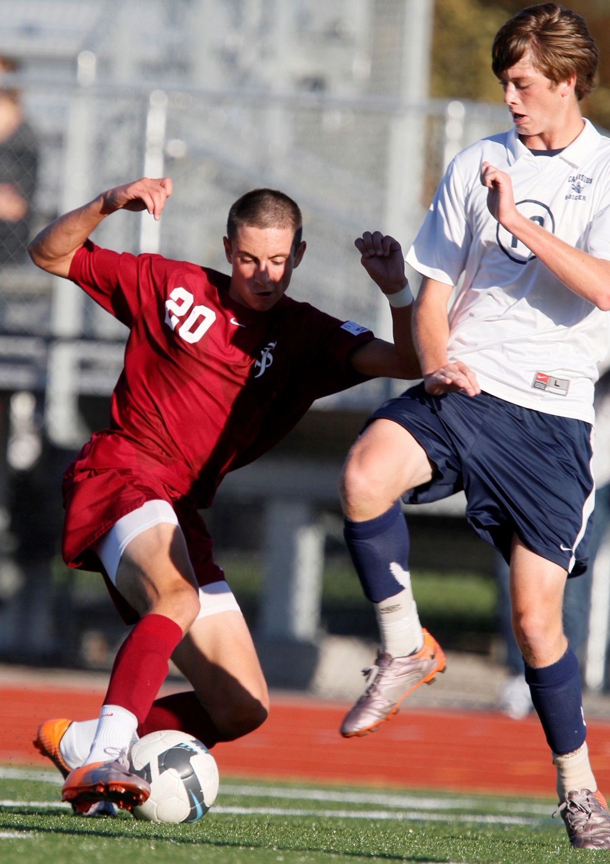 In a 2010 rivalry match between St. Joe's and Canisius, the Marauders' Braden Scales, left, goes into a tackle with the Crusaders' Mitch Cancilla. Both players continued to play at the collegiate level. (John Hickey/Buffalo News file photo)