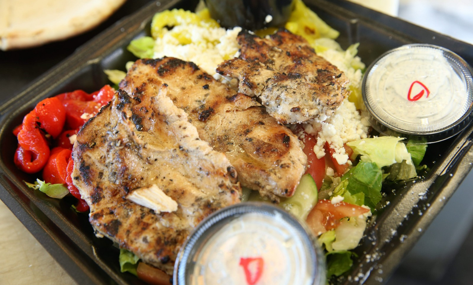 The open chicken souvlaki from Pita Gourmet on Transit Road is a health-conscious choice while shopping. (Sharon Cantillon/Buffalo News file photo)