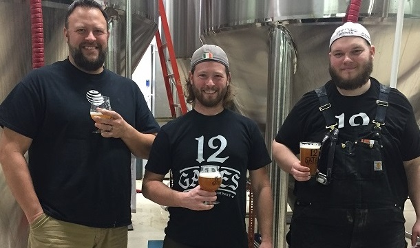 12 Gates Brewing Co. staff, from left: Rob Haag, Shawn Kerr and Kevin Long. (Kevin Wise/Special to The News)