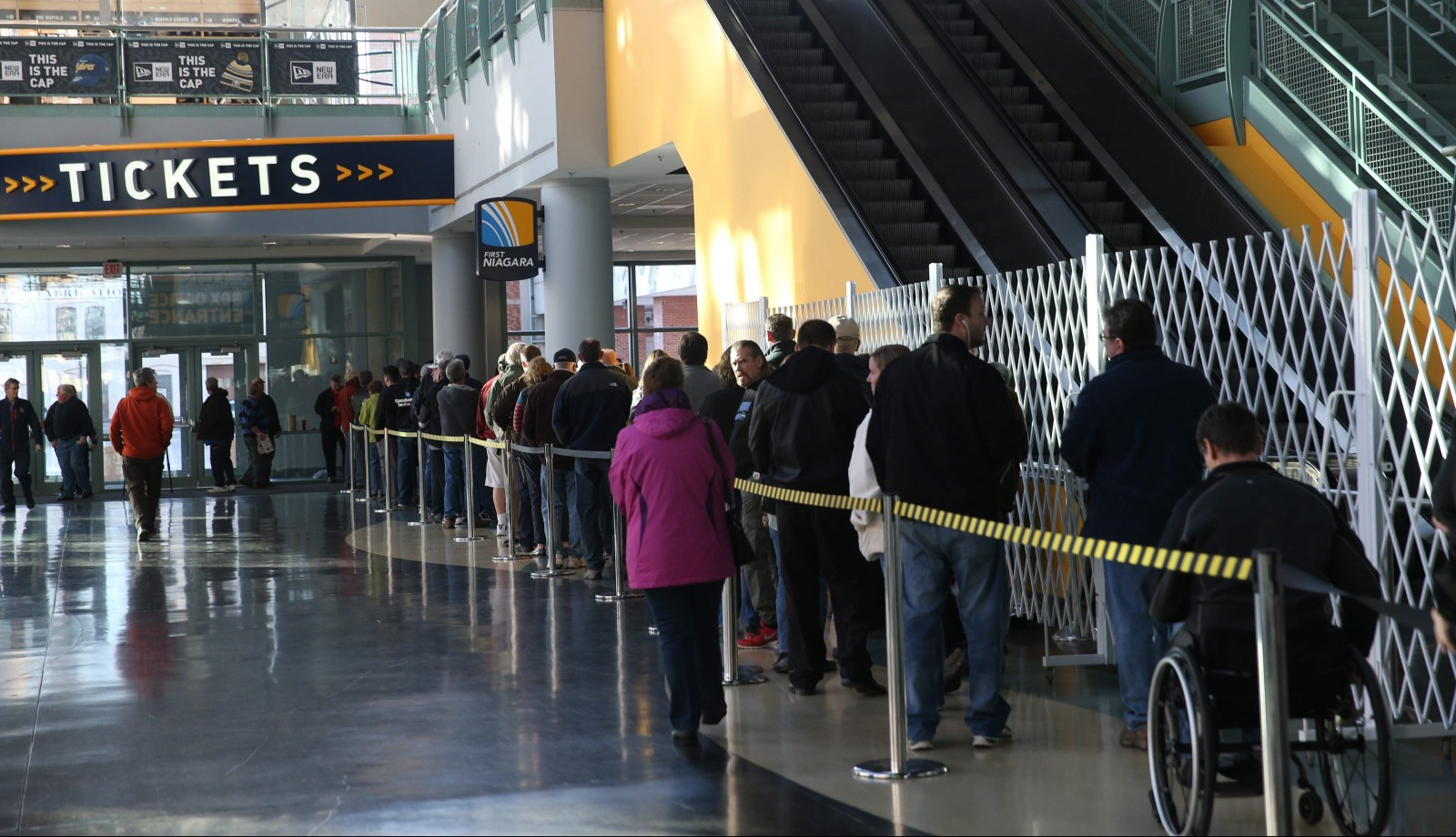 A line formed inside the First Niagara Center to buy Bruce Springsteen tickets as they went on sale Friday. (Sharon Cantillon/Buffalo News)