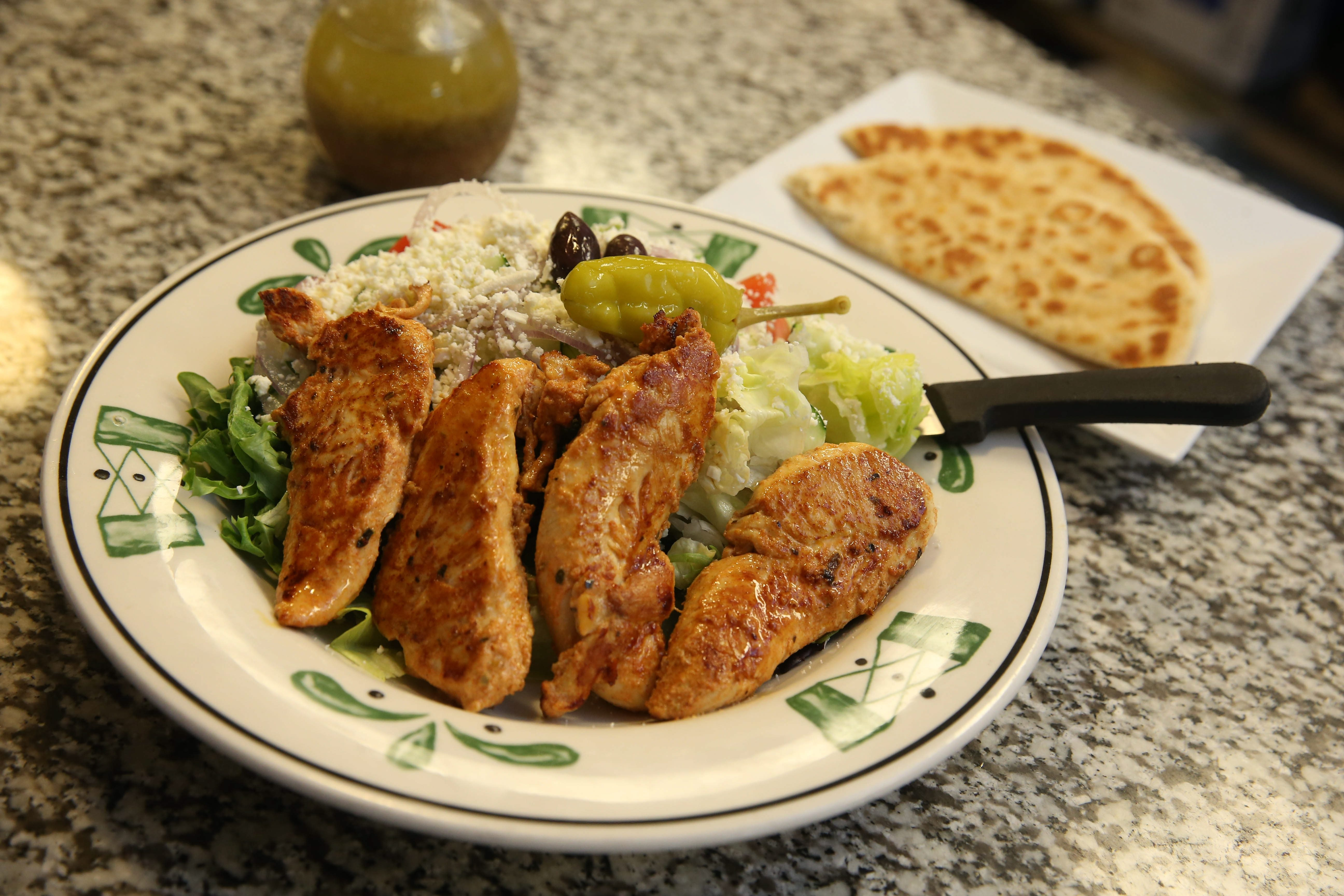 The open chicken souvlaki is one of the many Greek-American favorites available in huge portions at the Kalamata Family Restaurant.