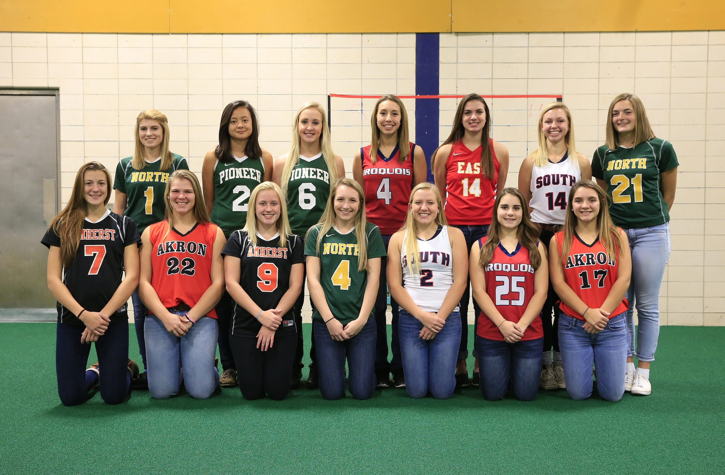 The best of the field: Front row, from left, McKenna Rushford (Amherst), Abigail Stone (Akron), Jenna Sobol (Amherst), Mary Crumlish (Williamsville North), Abby Ferenczy (Williamsville South), Holly Stiller (Iroquois), Sarah Schultz (Akron). Back, row, from left, Shannon Quinlan (Williamsville North), Kelsey Chai (Pioneer), Lauren Vacinek (Pioneer), Abby D'Amato (Iroquois), Leah Rogers (Williamsville East), Marnie Reidell (Williamsville South), Clare Ahern (Williamsville North).