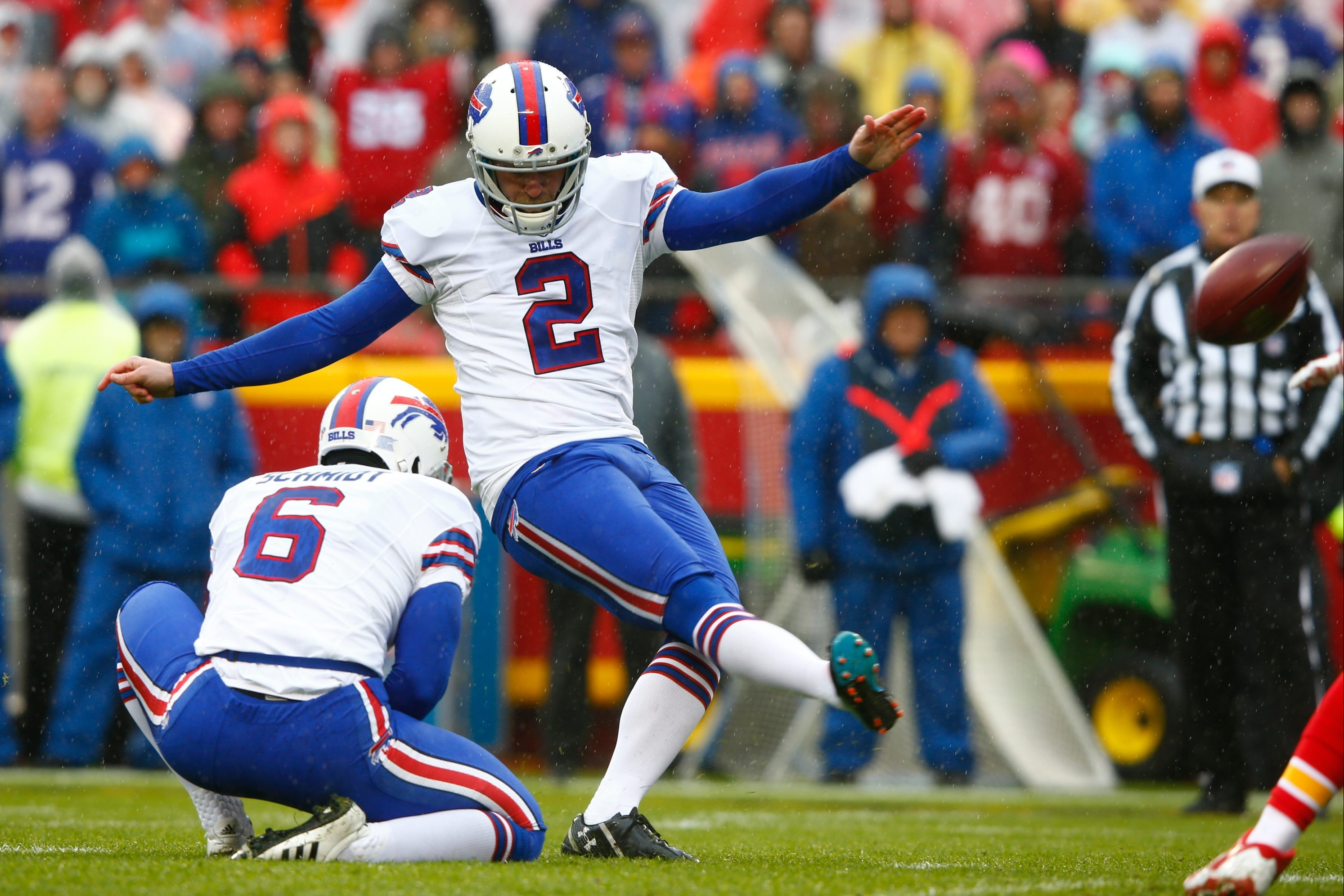 """""""You've just got to get used to it,"""" Bills kicker Dan Carpenter says of  the greater distance for extra points this season."""
