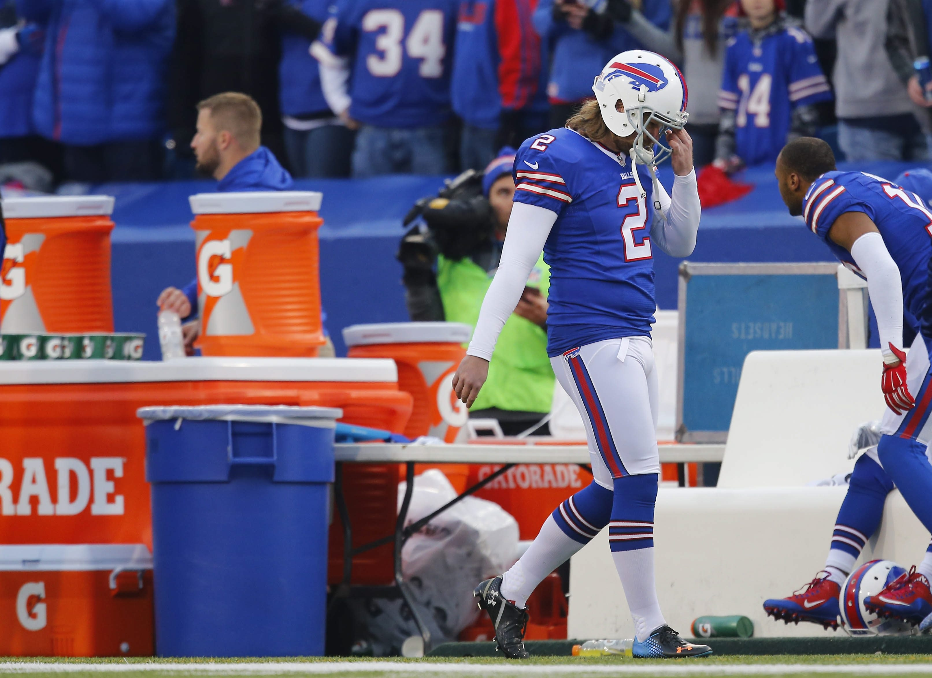 Buffalo Bills' Dan Carpenter reacts to missing an extra point in the fourth quarter at Ralph Wilson Stadium in Orchard Park, Sunday, Dec. 6, 2015.  (Mark Mulville/Buffalo News)