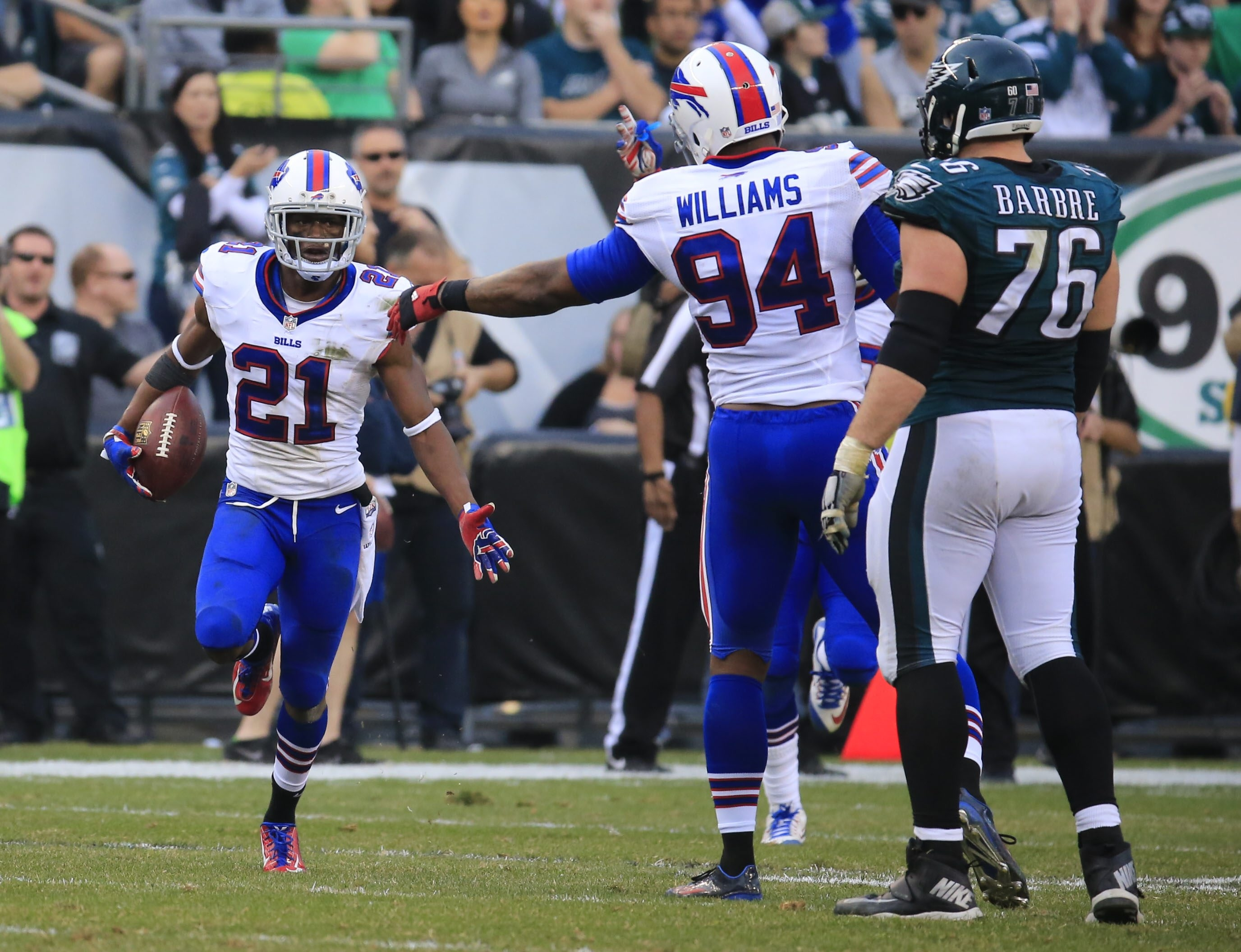 The Bills Leodis McKelvin celebrates an interception on a ball intended for Eagles Brent Celek. The play was reviewed but wasn't overturned.