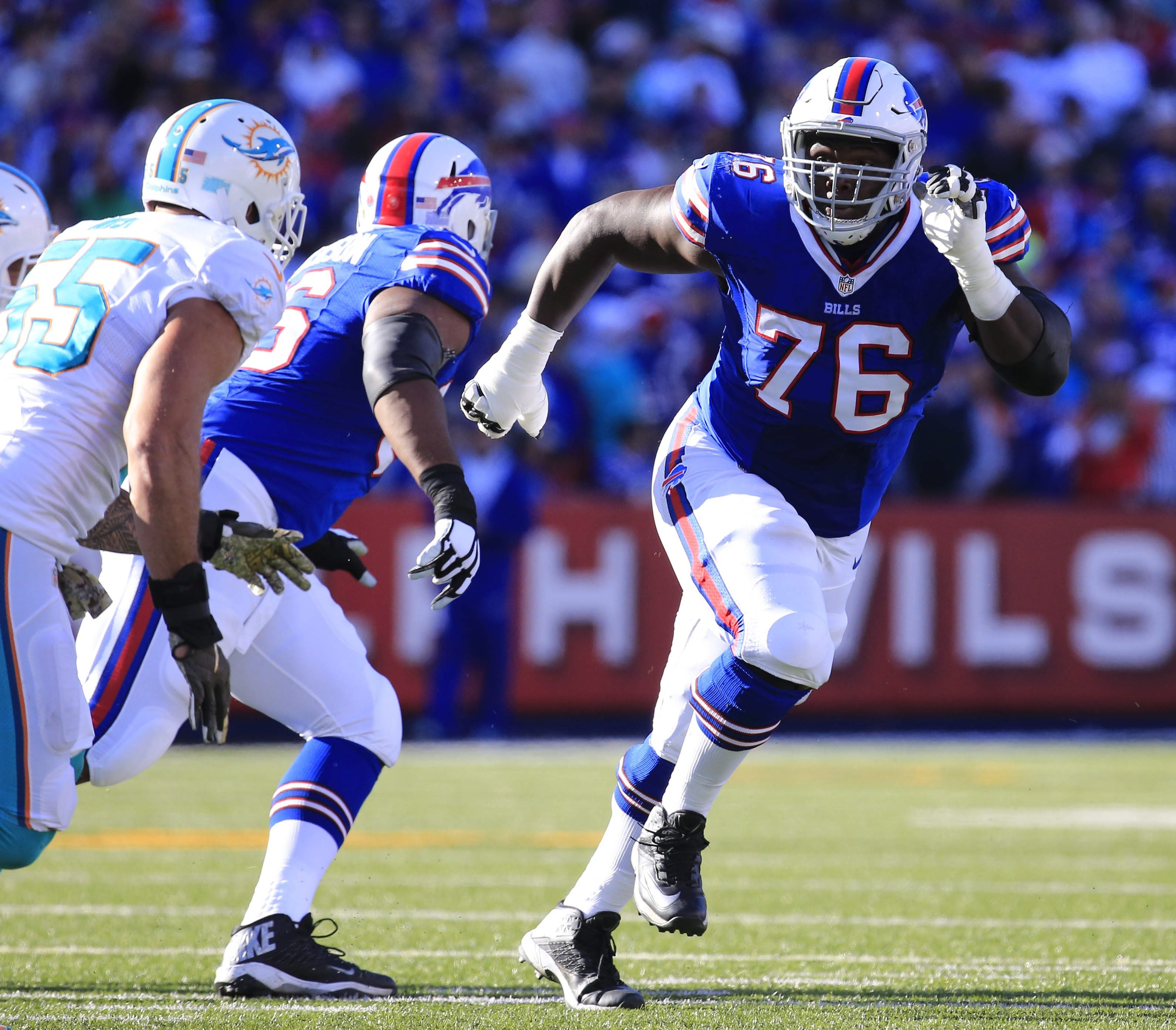 Buffalo Bills rookie right guard John Miller played hurt against Philadelphia Sunday, and it showed. He had three penalties in the game.