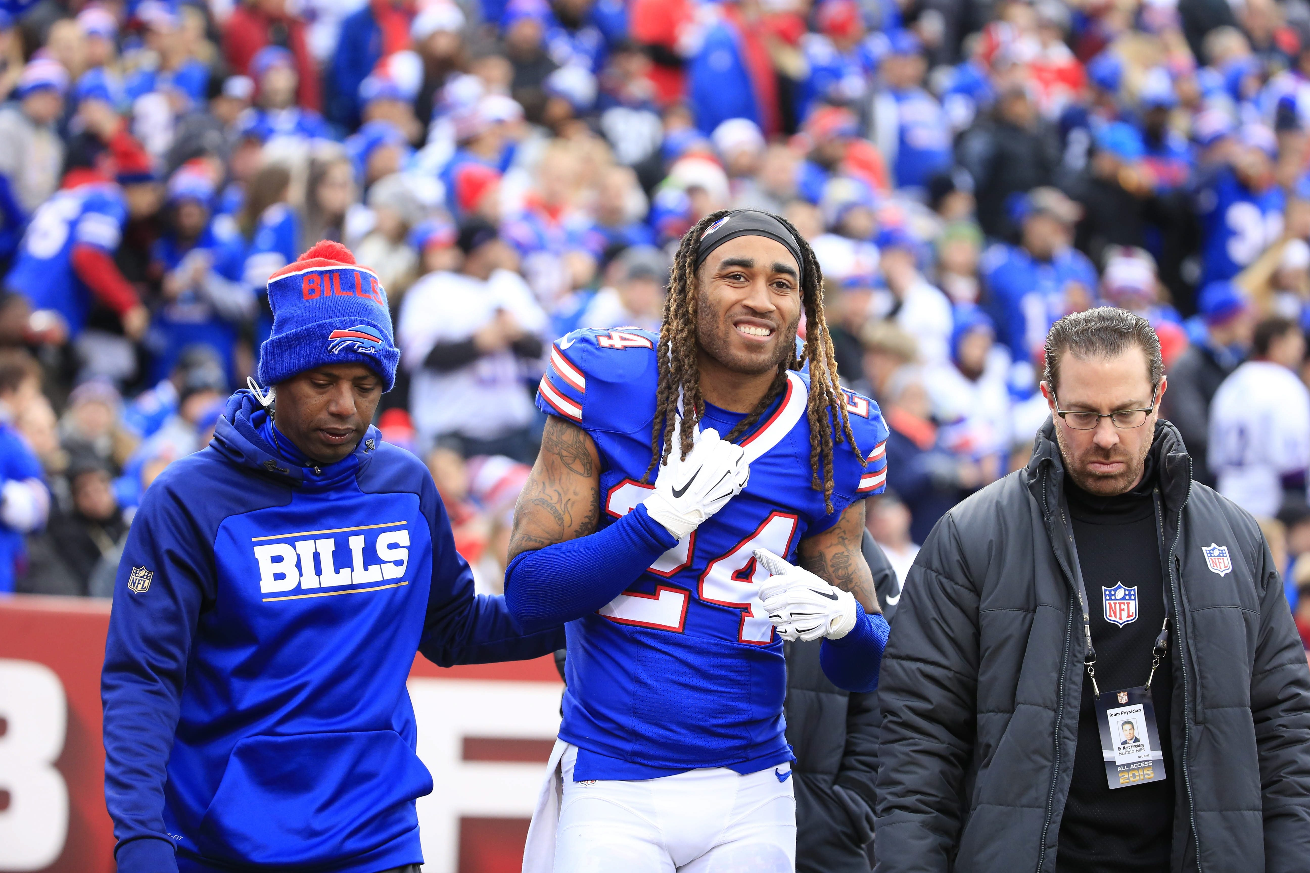 Bills cornerback Stephon Gilmore leaves the field after a shoulder injury on Dec. 6. The team has placed him on injured reserve.