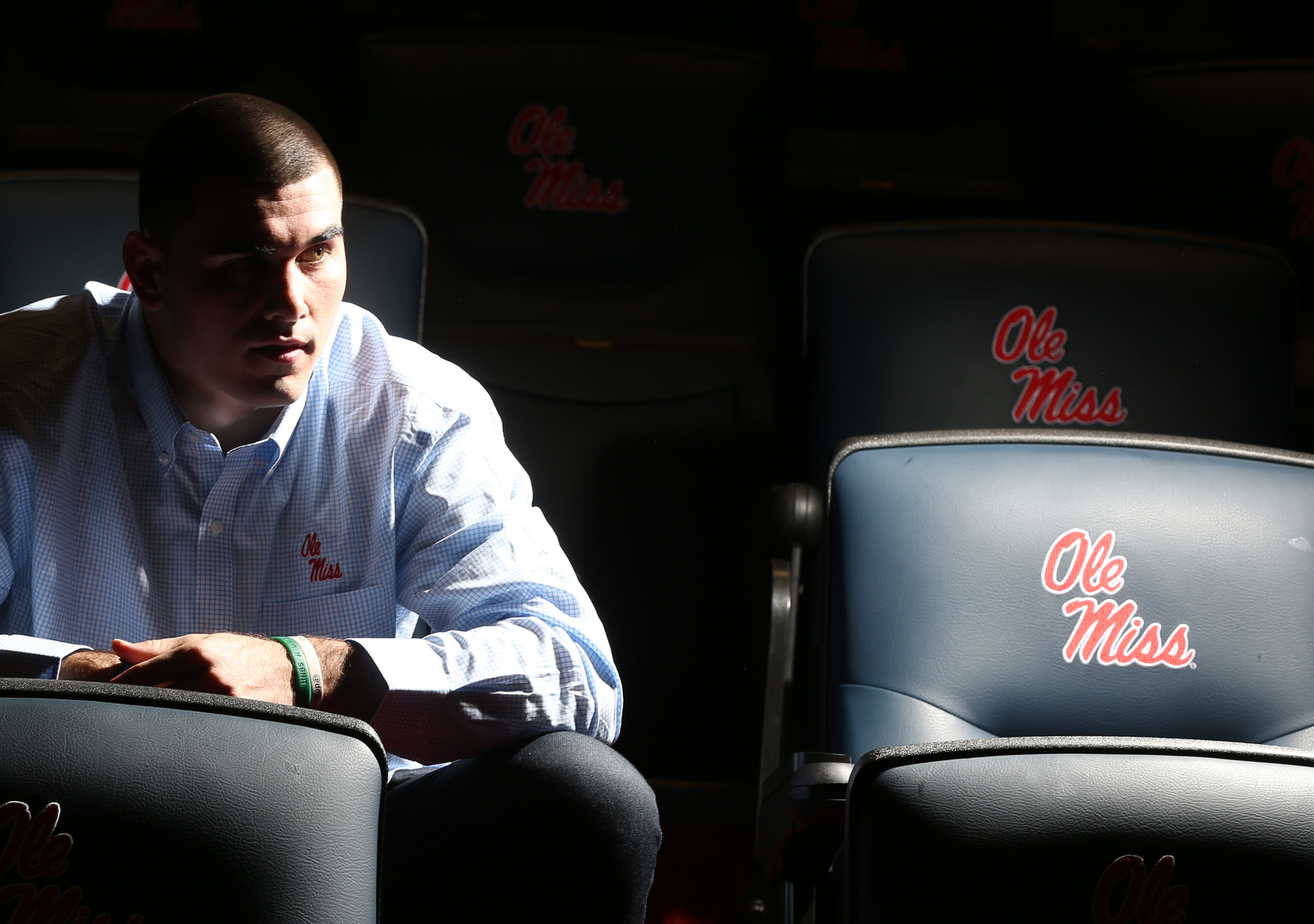 Chad Kelly posed for a photograph in the Ole Miss team meeting room on Dec. 11, 2015.  (James P. McCoy/ Buffalo News)