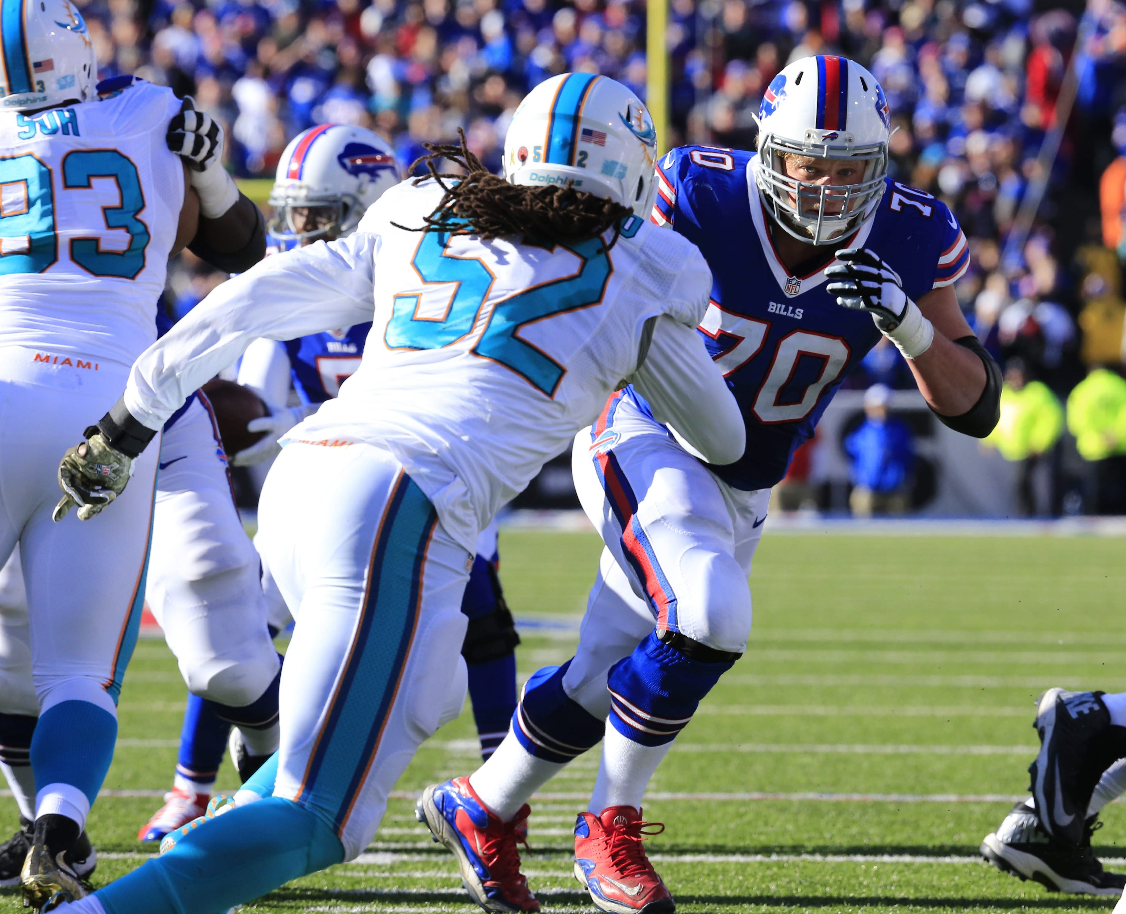 Buffalo Bills lineman Eric Wood blocks against the Miami Dolphins during the second quarter at Ralph Wilson Stadium on Sunday, Nov. 8, 2015.  (Harry Scull Jr./Buffalo News)