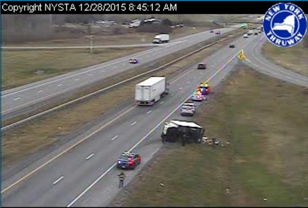 A crash on the mainline Thruway near the Batavia exit left a vehicle overturned Monday morning. (State Thruway Authority via NITTEC)