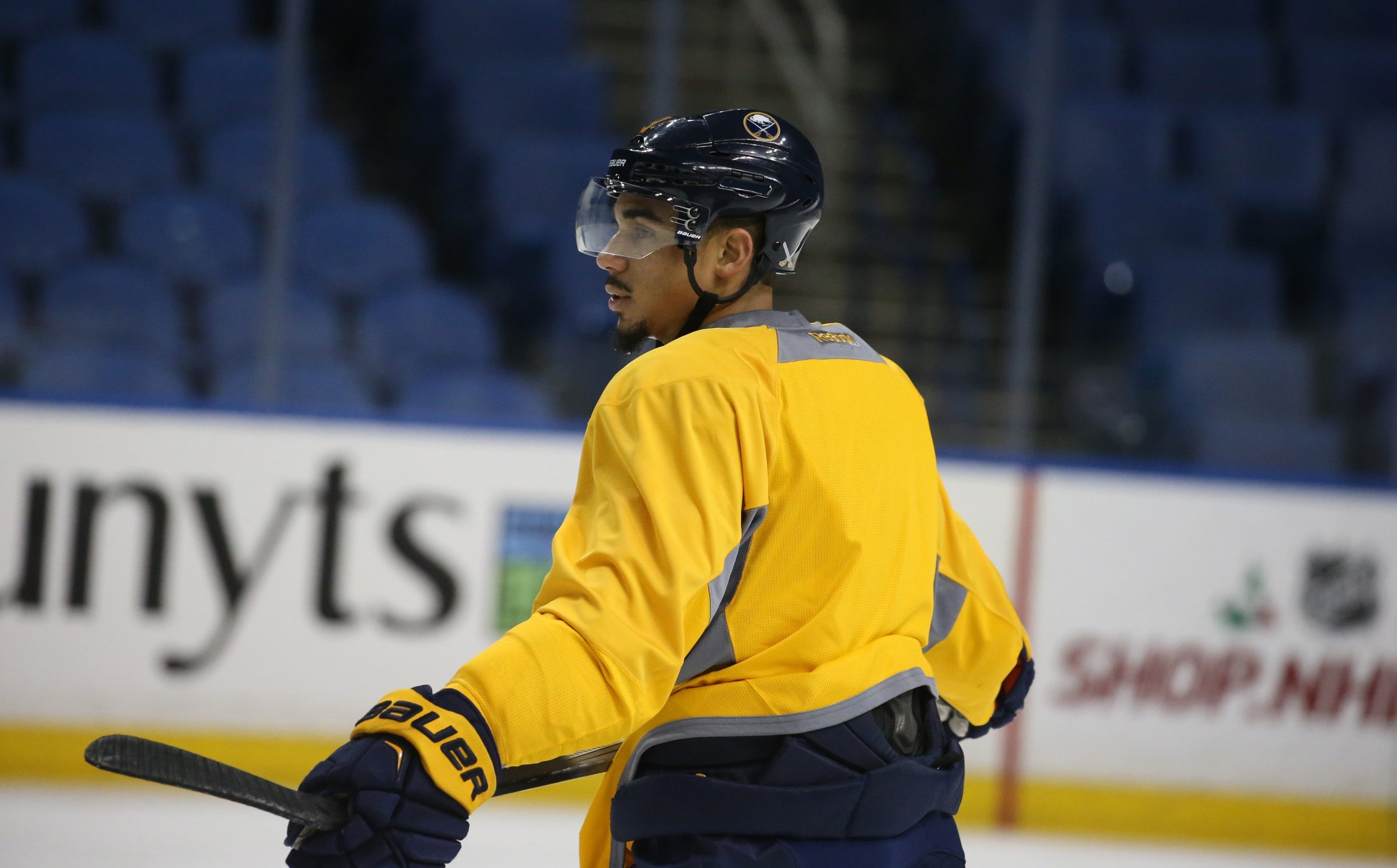 Evander Kane skates during Monday morning's Sabres practice at First Niagara Center. He will play tonight against the Washington Capitals.