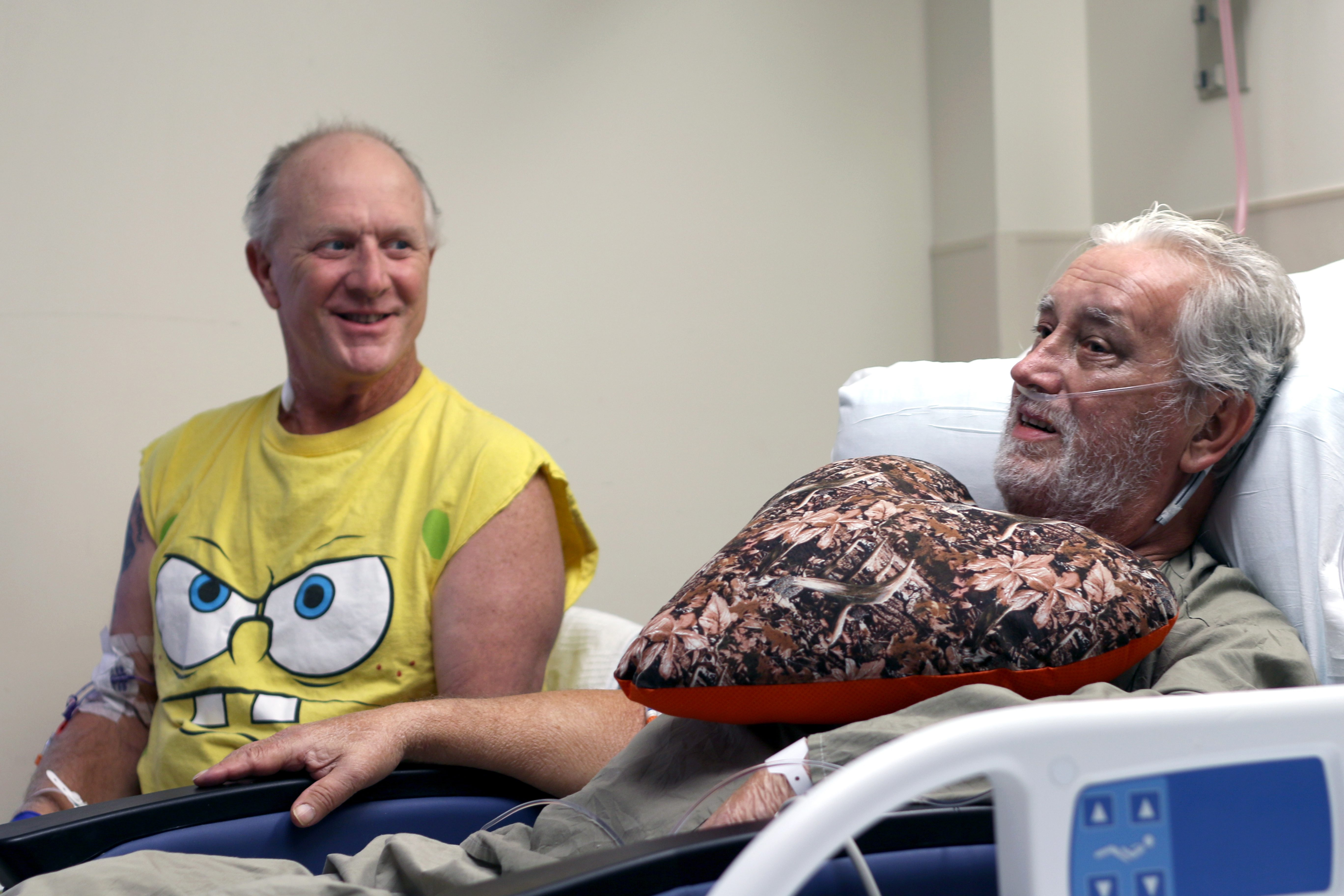 Frank Pluta, left, and Jerry Galuszka both received heart transplants at University of Rochester Medicine's Strong Memorial Hospital in Rochester.