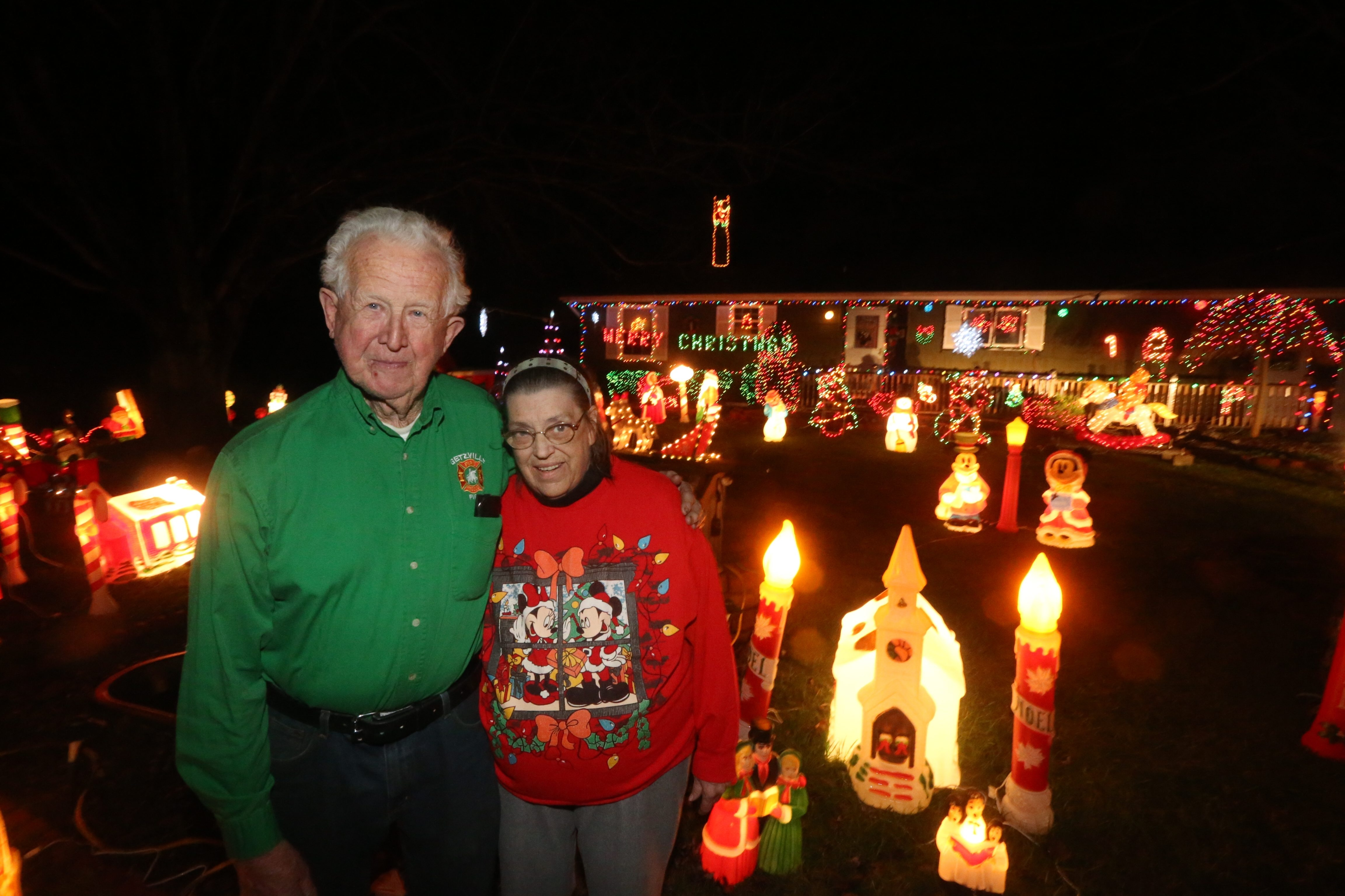 Karen and David Wightman have been setting up a display of Christmas decorations on the front lawn of their Dodge Road home in Getzville for 50 years. This year, they cut it back from 300 feet to 125 feet, but it still attracts plenty of visitors.