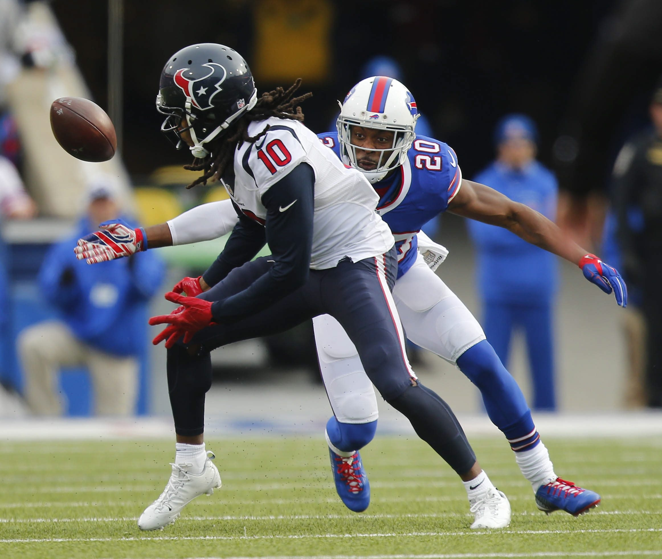 Buffalo Bills' Corey Graham breaks up a pass intended for Houston Texans' DeAndre Hopkins during the second quarter at Ralph Wilson Stadium in Orchard Park, Sunday, Dec. 6, 2015.  (Mark Mulville/Buffalo News)