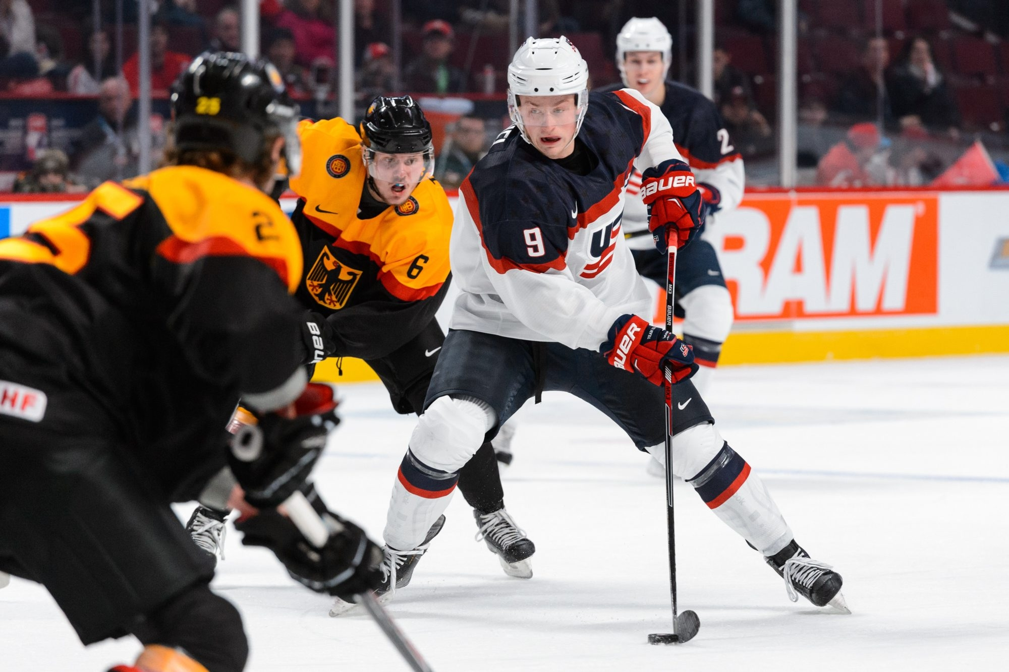 Jack Eichel plays the puck during the 2015 IIHF World Junior Hockey Championships.