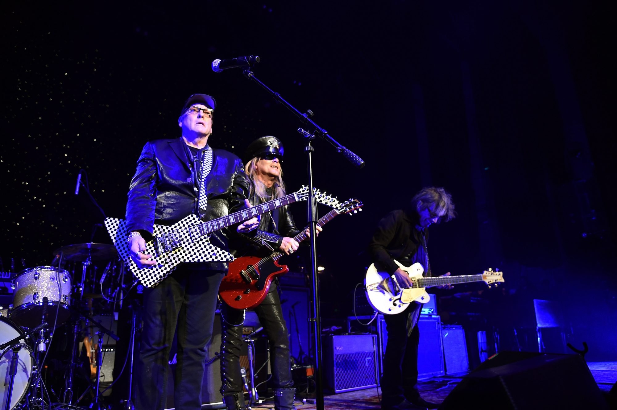 Rick Nielsen, Robin Zander and Tom Petersson of Cheap Trick perform last year in Atlanta. The band, which has had massive commercial success, will be inducted in the Rock and Roll Hall of Fame.
