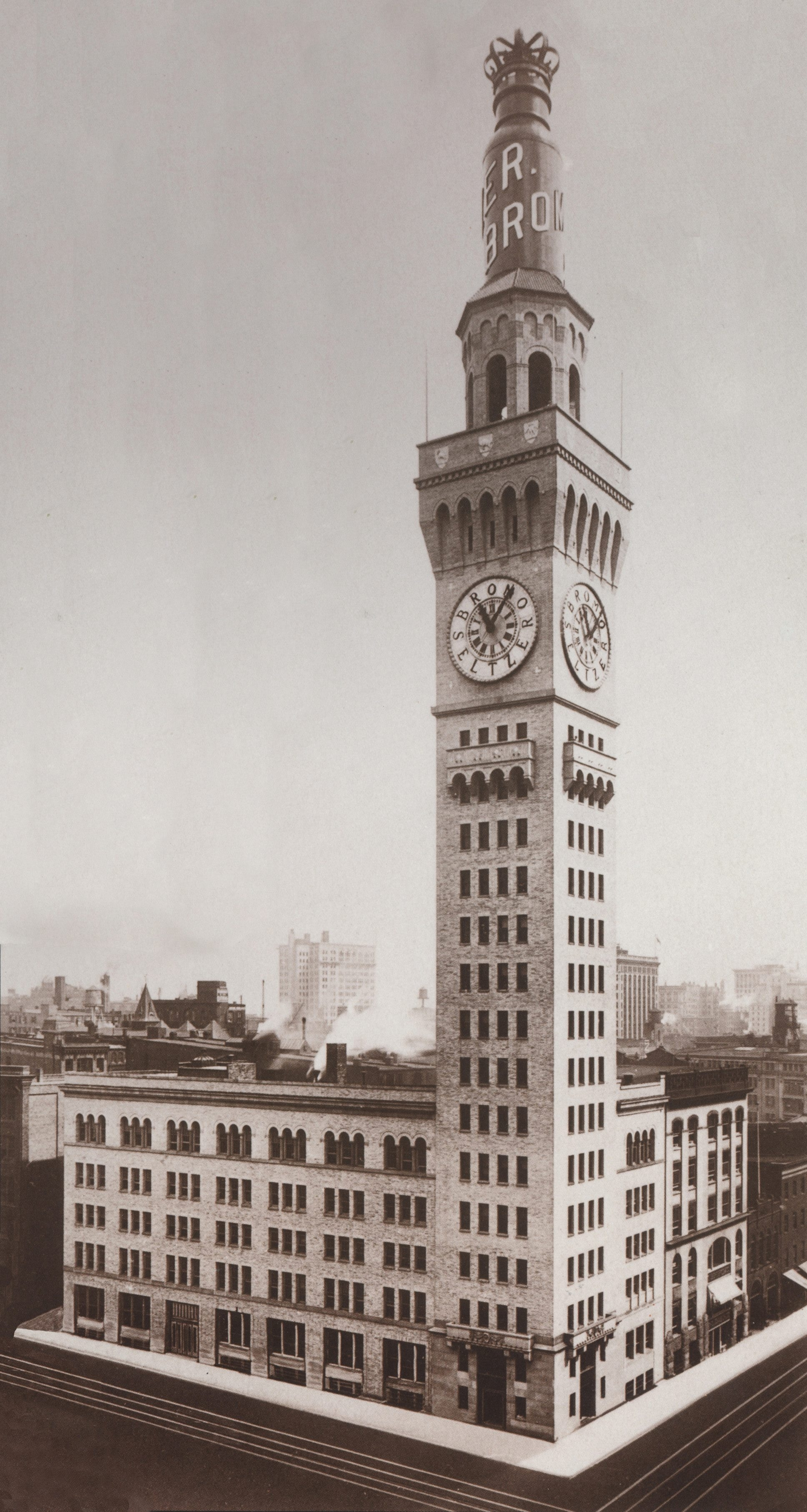 At left is Baltimore's Bromo Selzter Arts Tower prior to 1936 when it was topped with a 51-foot replica Bromo-Seltzer bottle. Today the building is the cornerstone of the Bromo Arts District on the city's west side.
