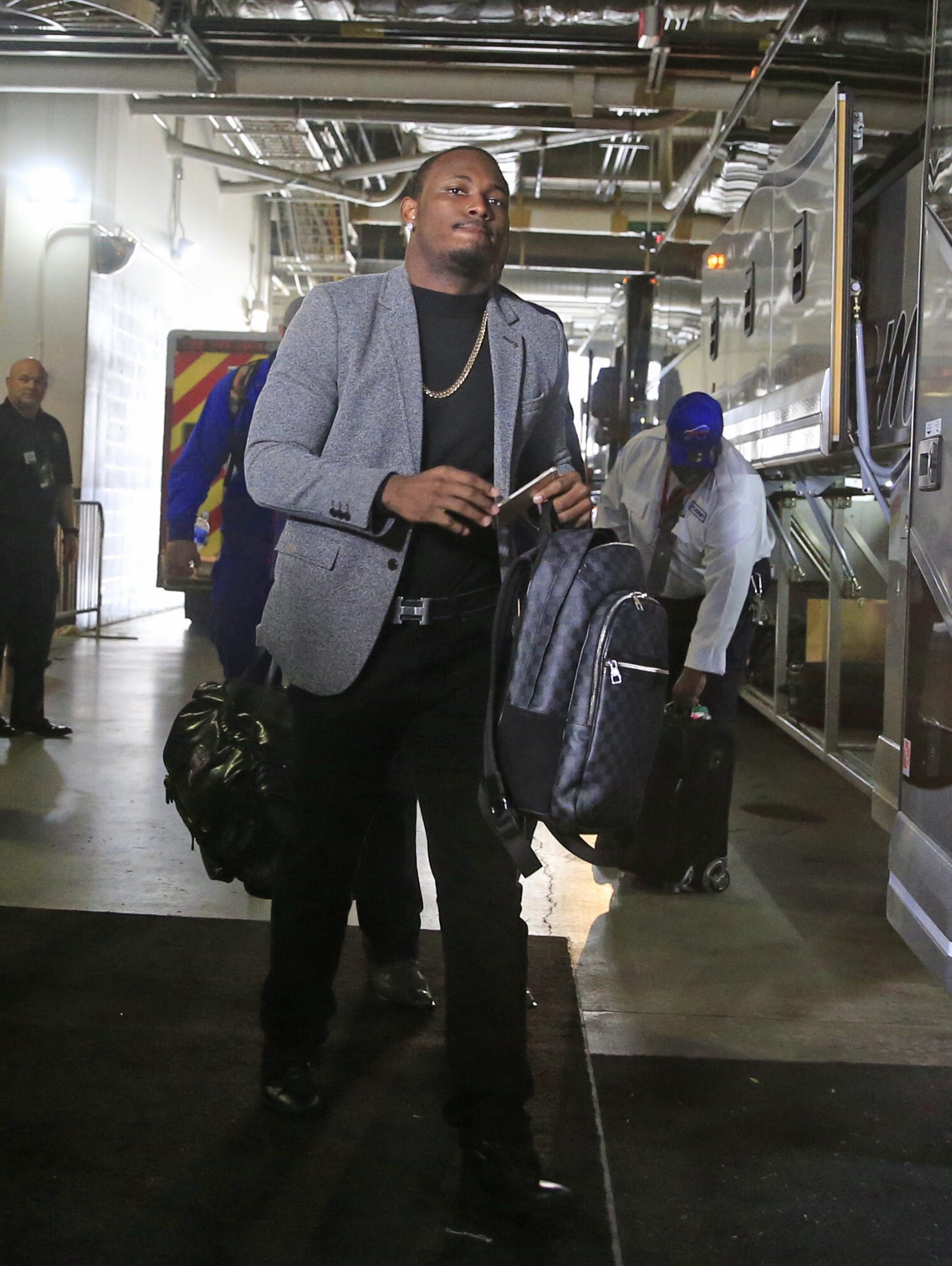 Buffalo Bills LeSean McCoy makes his way into Lincoln Financial Field on Sunday, Dec. 13, 2015.  (Harry Scull Jr./Buffalo News)