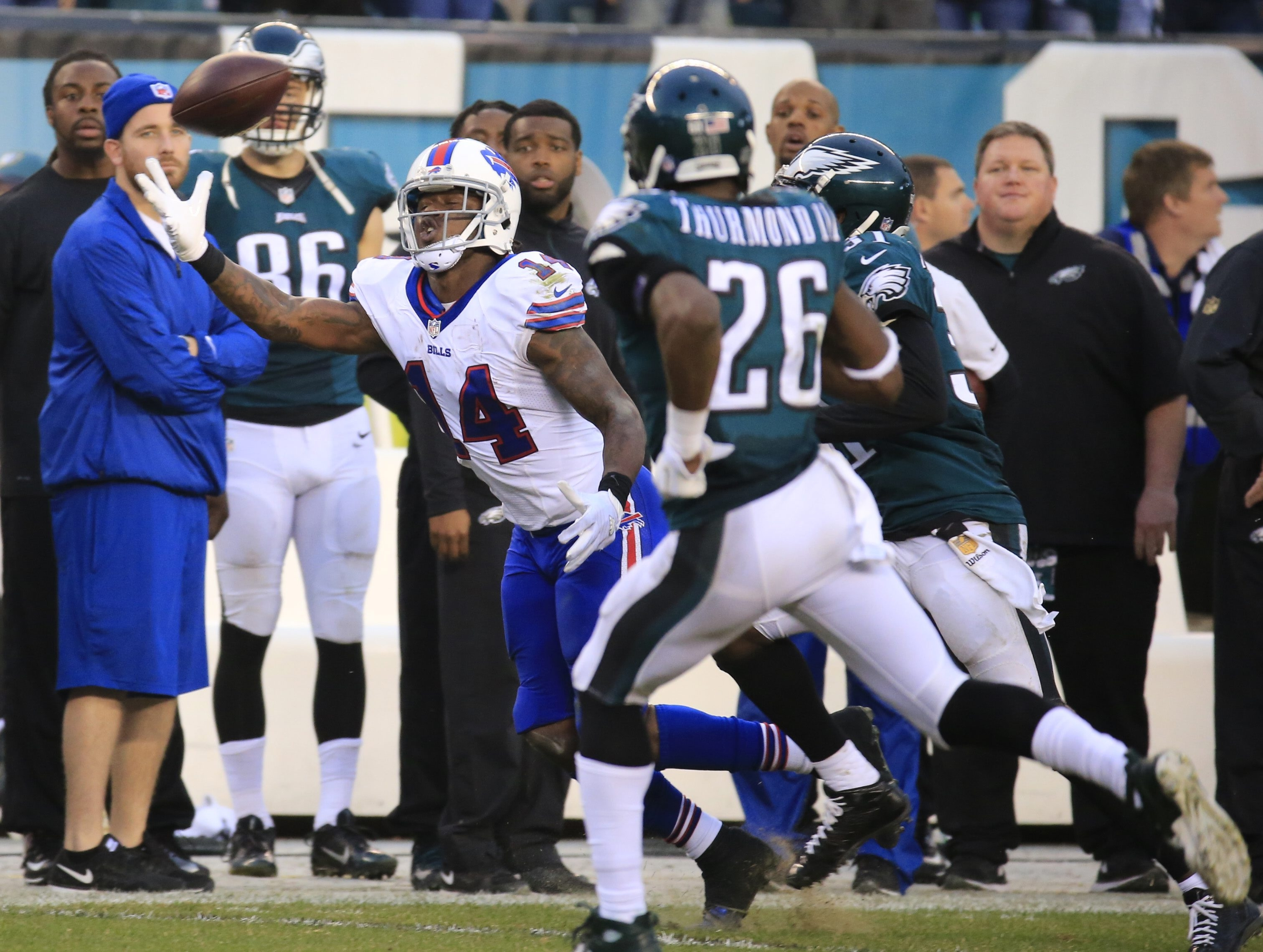 Buffalo Bills  Sammy Watkins cannot makes a 4th quarter catch against Philadelphia Eagles at Lincoln Financial Field on Sunday, Dec. 13, 2015.  (Harry Scull Jr./Buffalo News)