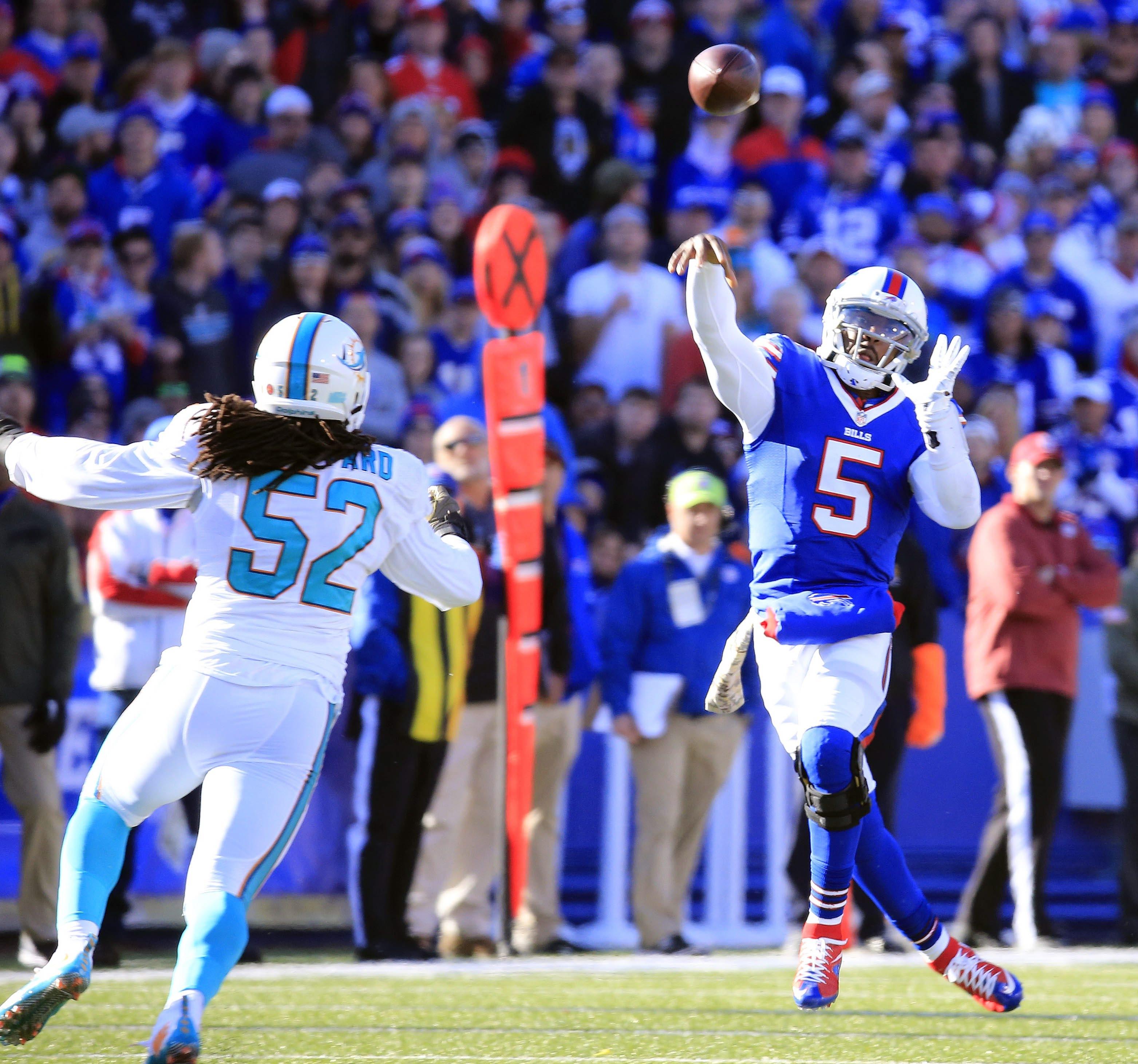 Buffalo Bills quarterback Tyrod Taylor throws against the Miami Dolphins during the first quarter at Ralph Wilson Stadium on Sunday, Nov. 8, 2015.  (Harry Scull Jr./Buffalo News)