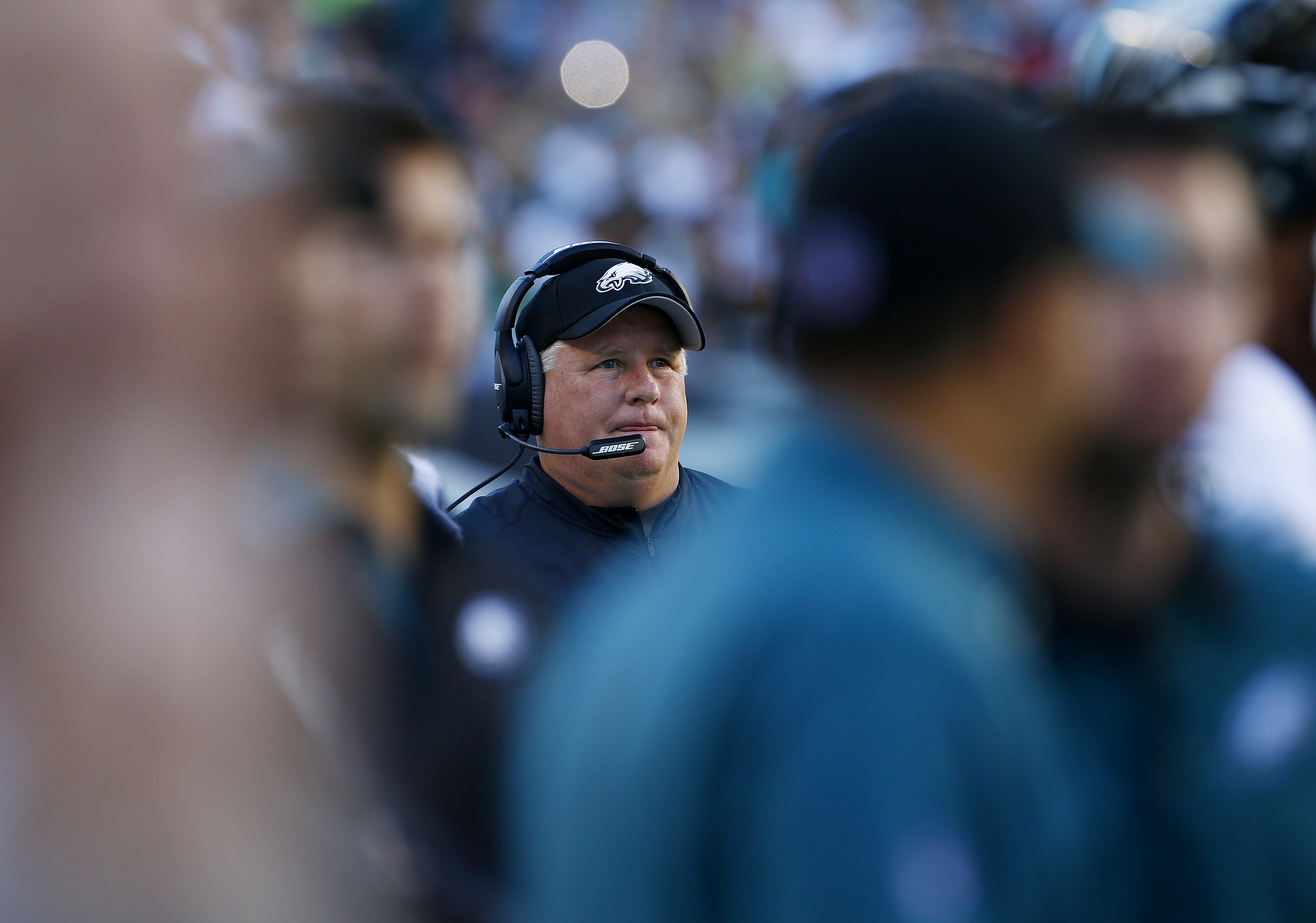 PHILADELPHIA, PA - SEPTEMBER 20: Head coach Chip Kelly of the Philadelphia Eagles calls a play during the first quarter against the Dallas Cowboys during a football game at Lincoln Financial Field on September 20, 2015 in Philadelphia, Pennsylvania. The Cowboys defeated the Eagles 20-10. (Photo by Rich Schultz /Getty Images)