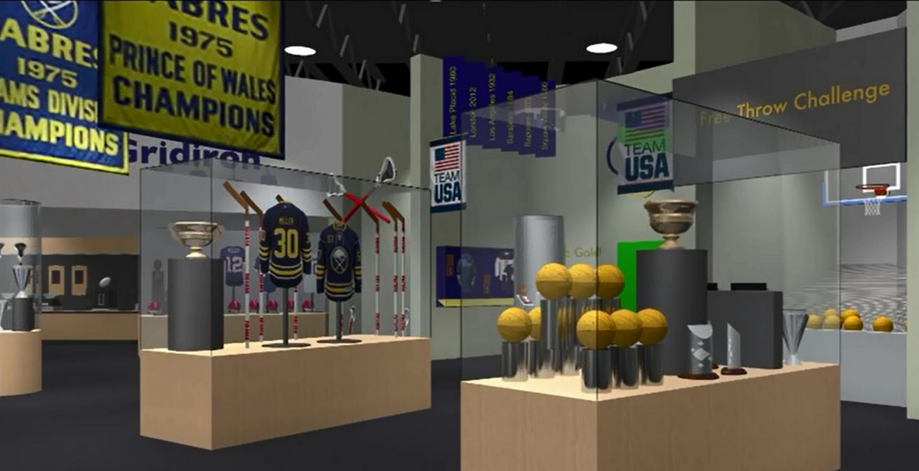 The Buffalo-Niagara Hall of Fame concept includes interactive displays with permanent and temporary exhibits.