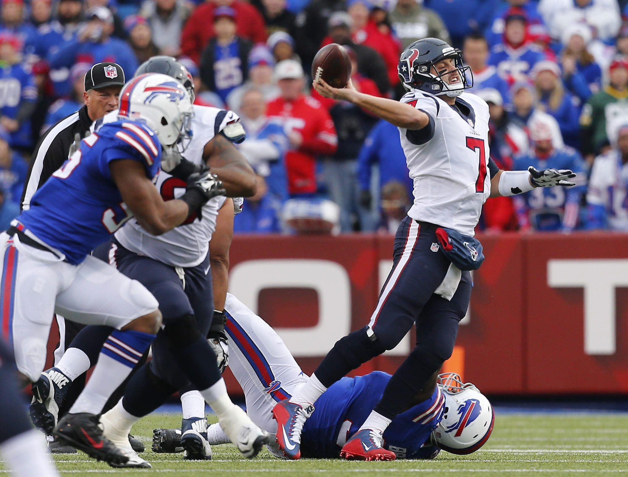 The Bills fully understood they could not allow Texans quarterback Brian Hoyer to beat them. Hoyer threw 43 times for 293 yards, three touchdowns and one interception.
