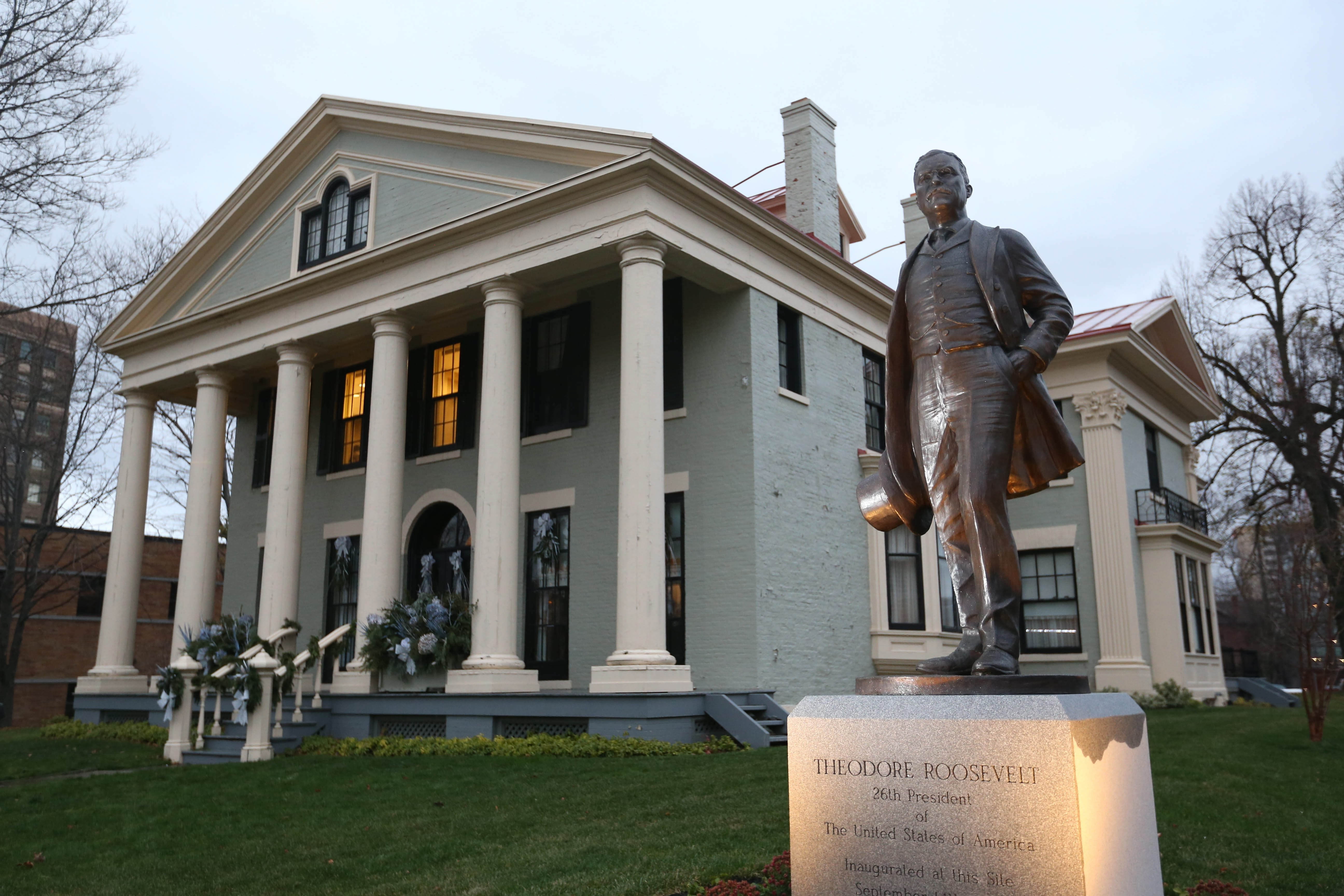 Decked out for the holidays: The Theodore Roosevelt Inaugural National Historic Site has a dramatic story to tell of how Theodore Roosevelt was inaugurated here after President McKinley was assassinated. Each year, area garden clubs give the house the holiday treatment.