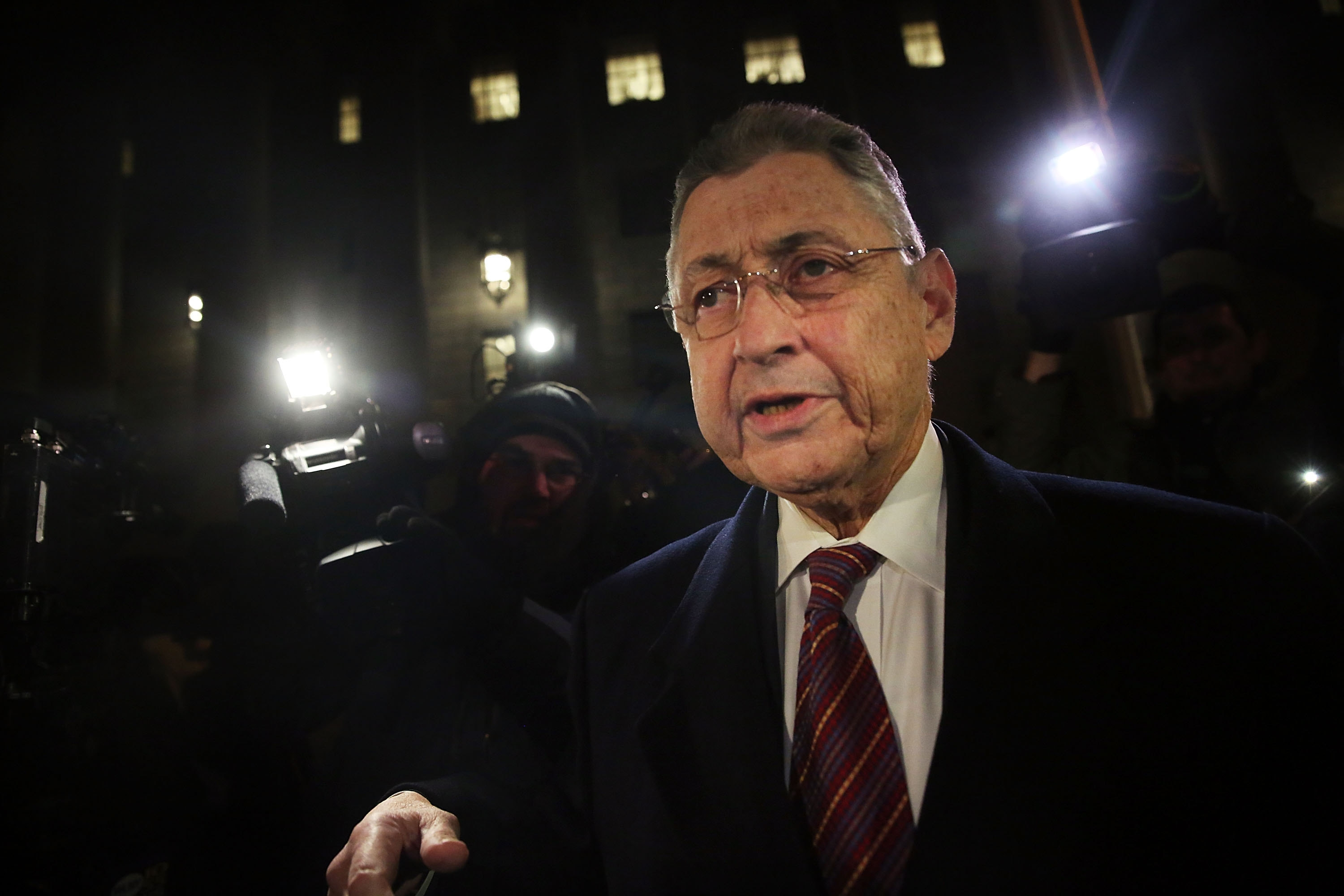 Former Assembly Speaker Sheldon Silver leaves federal court after being convicted of corruption charges.
