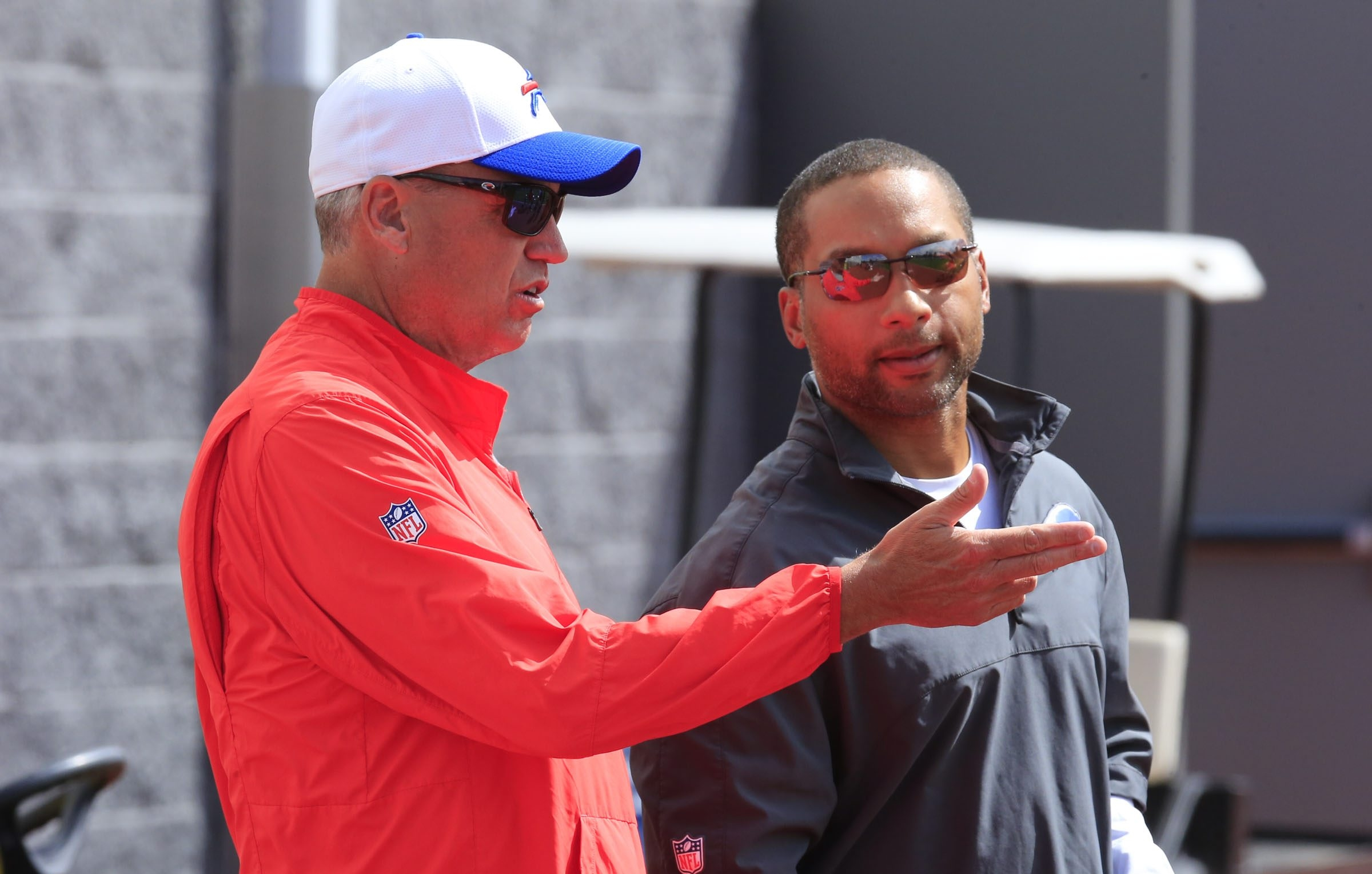 2LINE CUTLINE Buffalo Bills coach Rex Ryan and GM Doug Whaley talk at practice at Ralph Wilson Stadium. (Harry Scull Jr./Buffalo News)