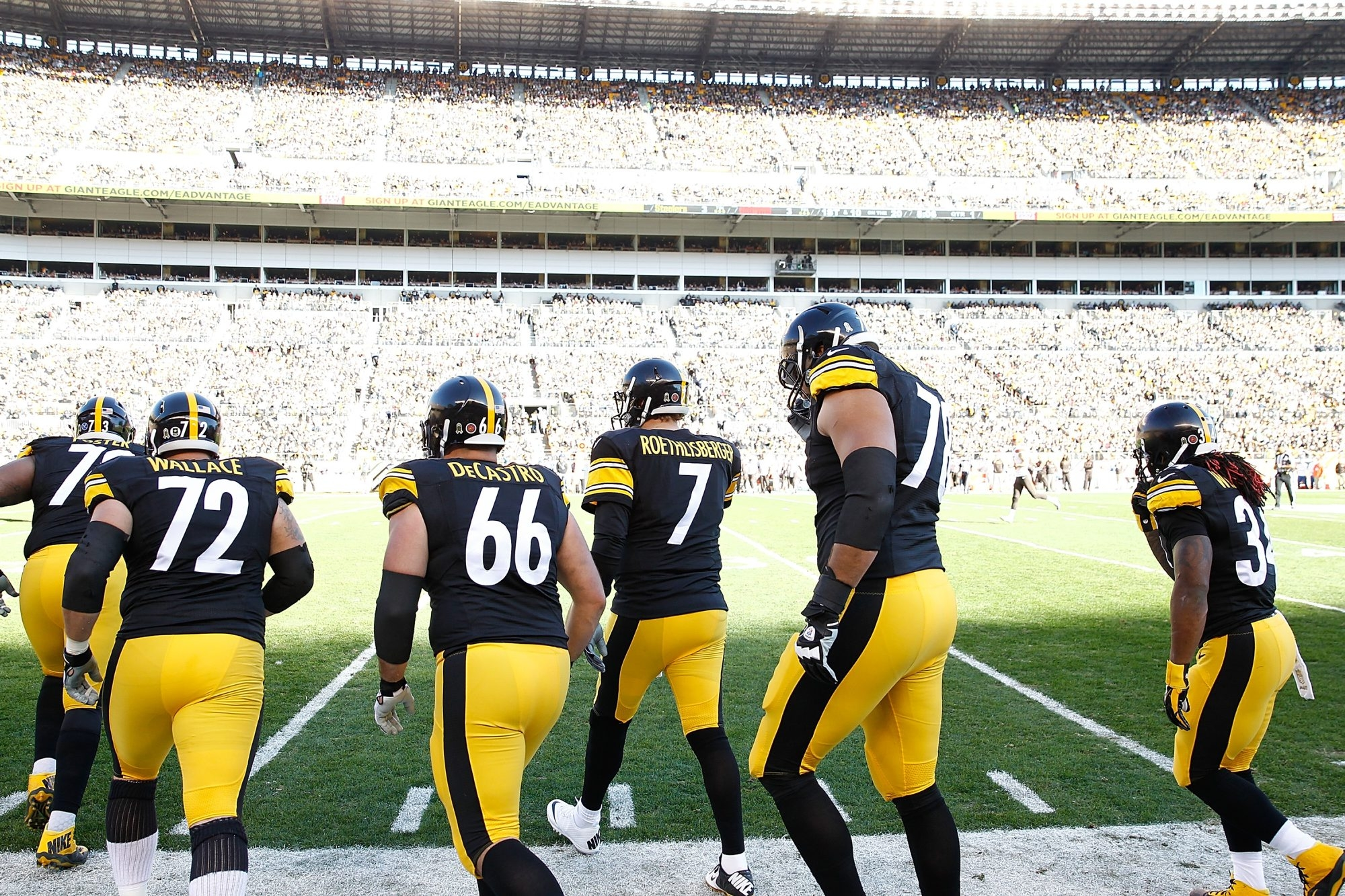 Ben Roethlisberger and the offensive line of the Pittsburgh Steelers take the field against the Cleveland Browns at Heinz Field in Pittsburgh last month. Bills fans should root for the Bengals to beat the Steelers this Sunday in Cincinnati.