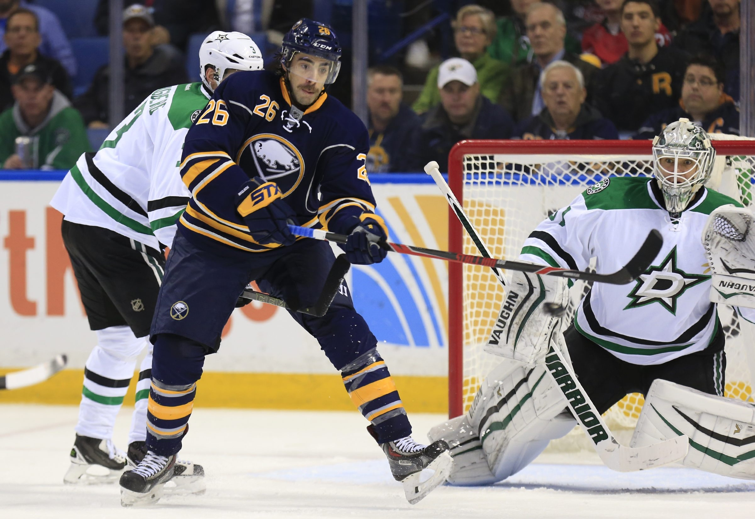 Buffalo Sabres Matt Moulson try to tips a puck past the Dallas Stars Antti Niemi during second period action at the First Niagara Center on Tuesday, Nov. 17, 2015. (Harry Scull Jr./Buffalo News)