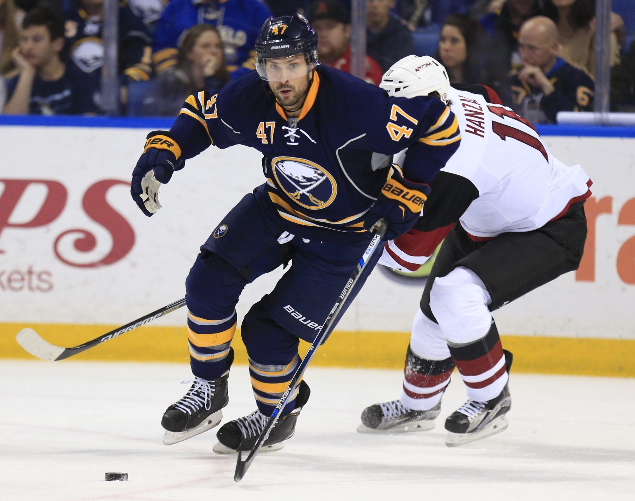 Zach Bogosian will play Sunday against Pittsburgh (Harry Scull Jr./Buffalo News)