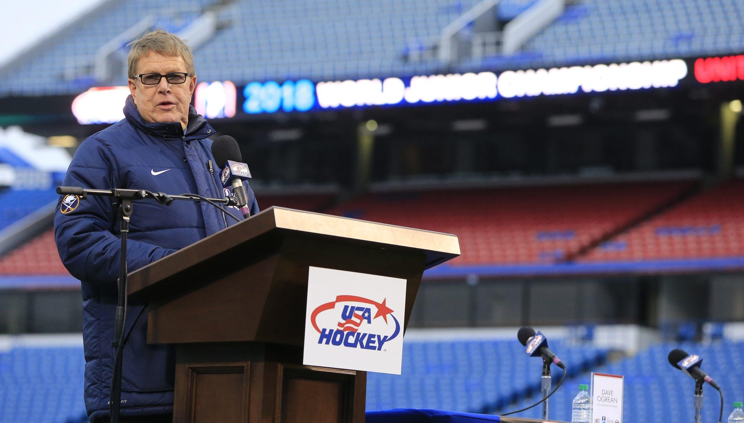 Dave Ogrean, executive director of USA Hockey, announces that Buffalo has been awarded the 2018 World Juniors hockey tournament.