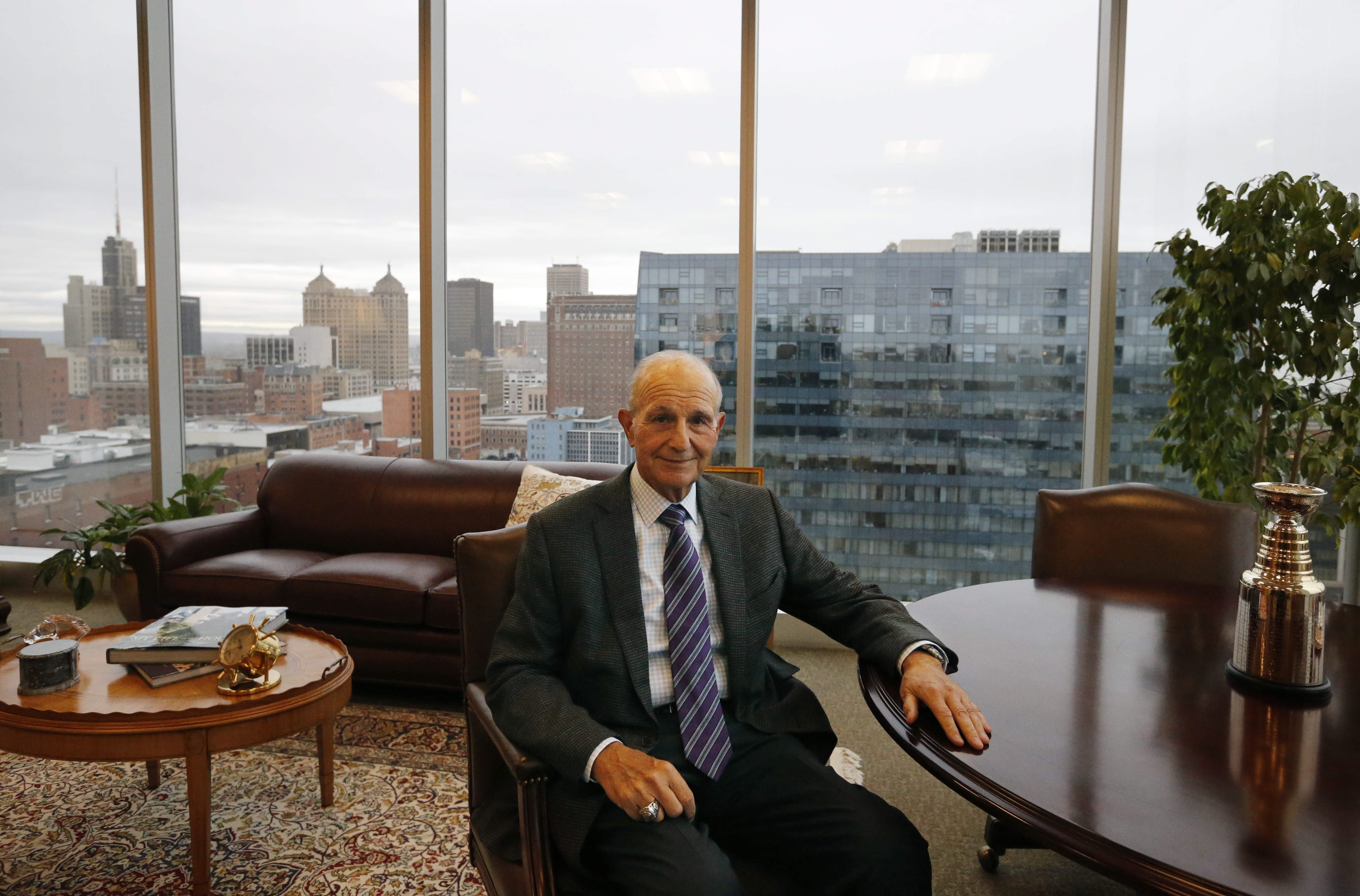 Jeremy M. Jacobs Sr. in his corner office at the new Delaware North headquarters at 250 Delaware, Tuesday, Dec. 1, 2015.  (Photo by)