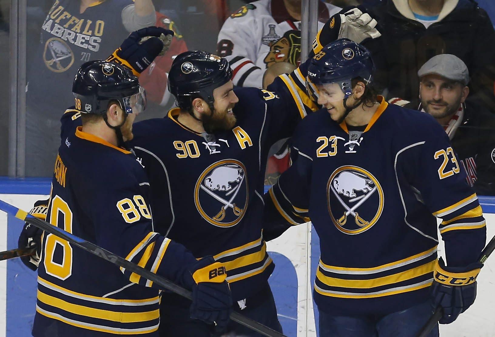 The Sabres' Ryan O'Reilly celebrates a goal earlier this season. (Mark Mulville/Buffalo News)