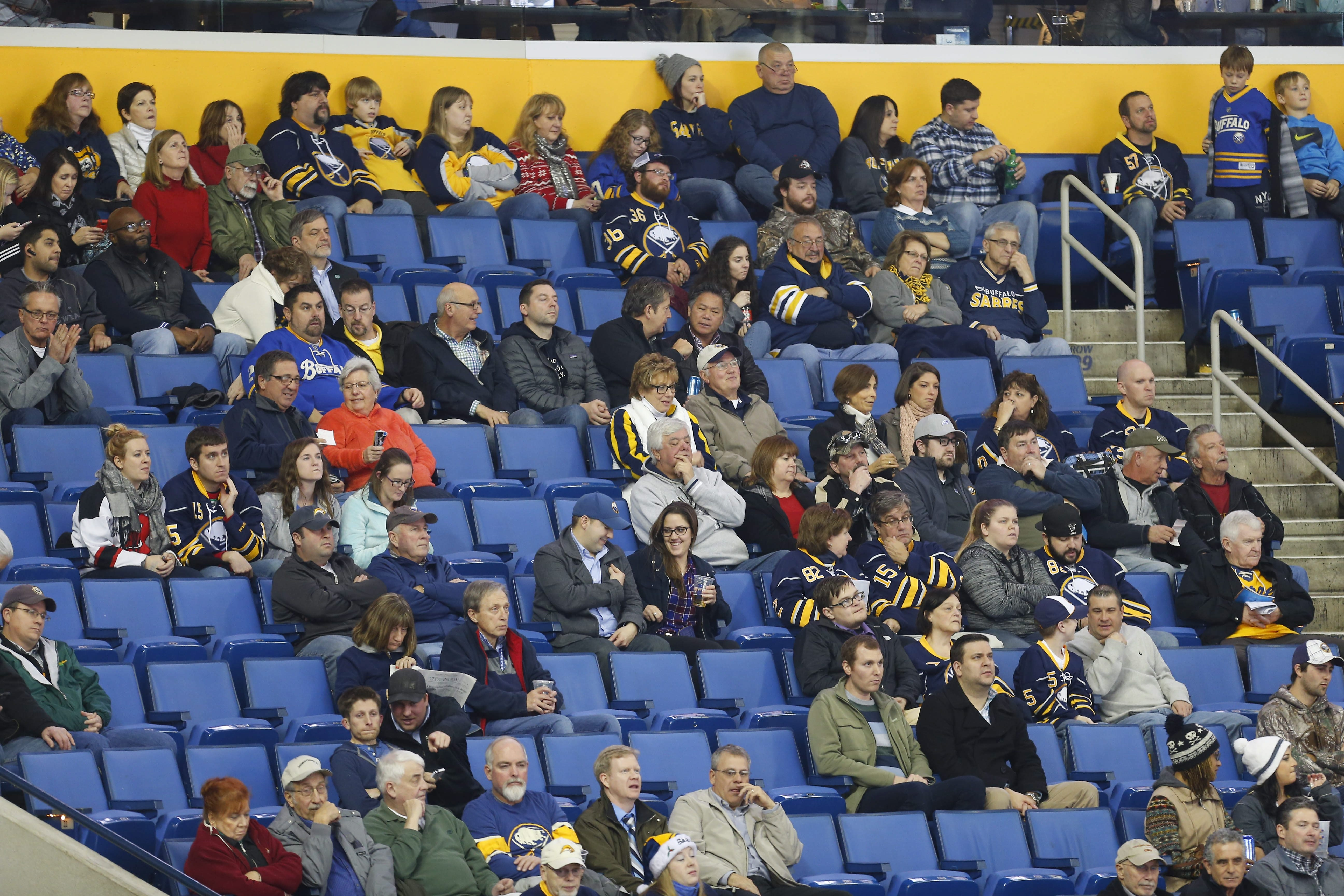 Empty seats at First Niagara Center tell the story of falling attendance even though the Sabres have added more talent to the team.