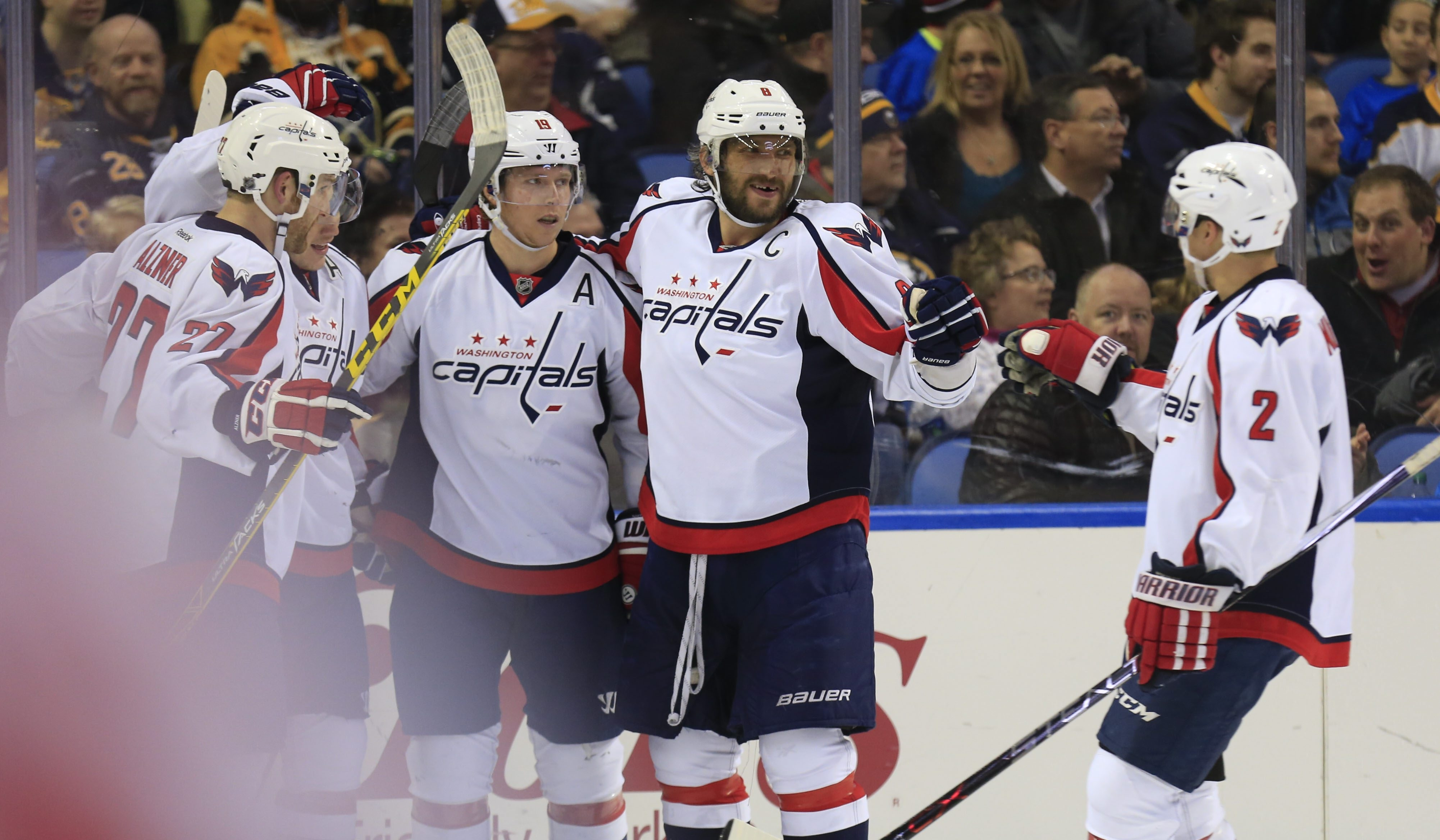 Capitals captain Alex Ovechkin celebrates his goal against the Sabres during second period Monday at the First Niagara Center.