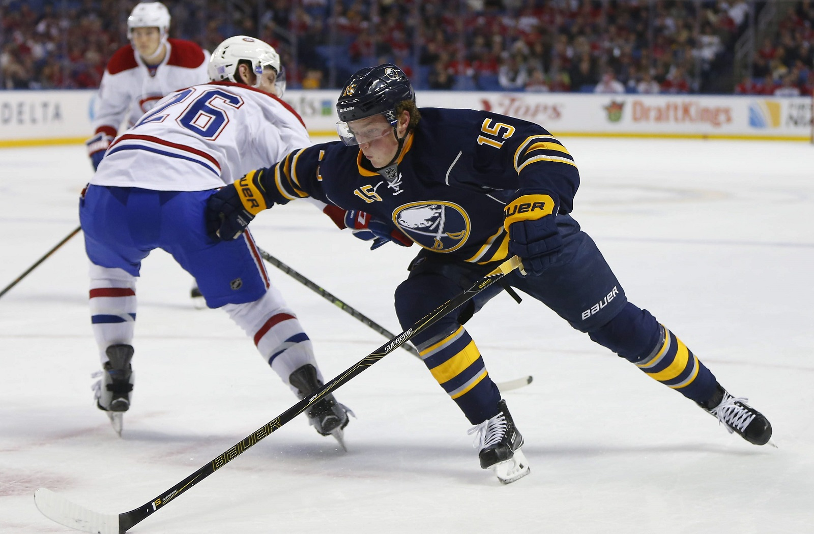 Jack Eichel's high-ankle sprain still limits his stopping and starting. (Mark Mulville/Buffalo News file photo)