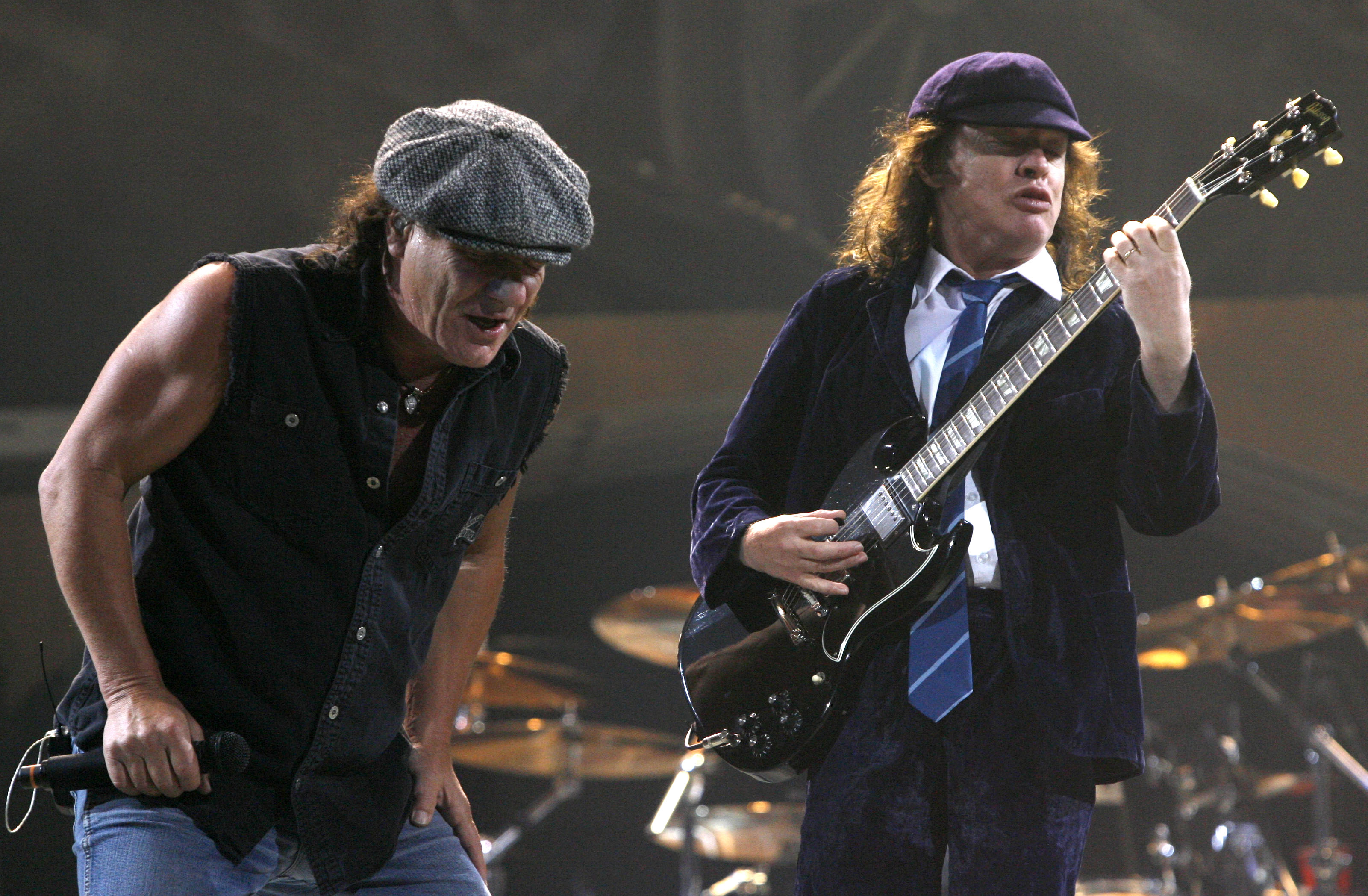 AC/DC's Brian Johnson, left, and Angus Young perform at the then-HSBC Arena on Oct. 18, 2009. (Robert Kirkham/Buffalo News)