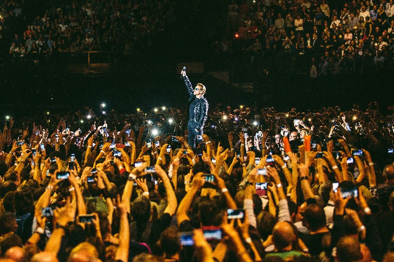 U2 front man Bono during the band's Paris concert (Photo courtesy of HBO)