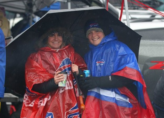 Plenty of fans came out for the game despite the lousy weather. (Mark Mulville/Buffalo News)