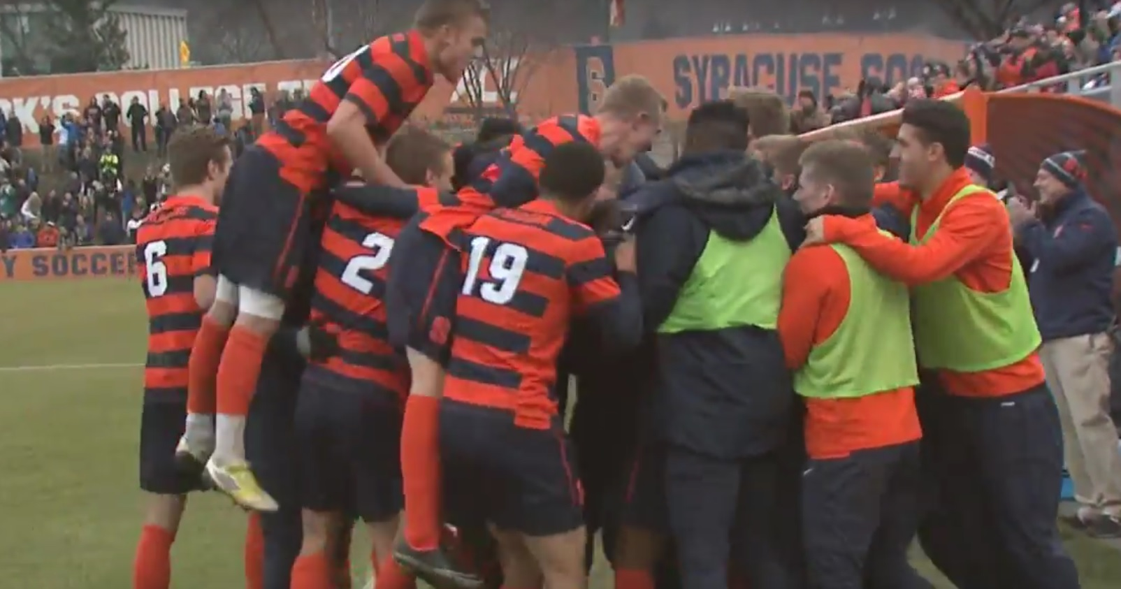 Liam Callahan and the Syracuse Orange celebrate Ben Polk's goal, the only tally of the match. (YouTube screen shot)