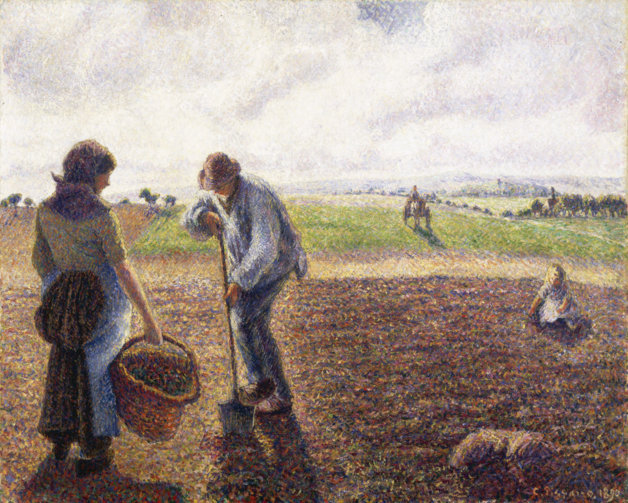 Camille Pisarro's 'Peasants in the Fields, Eragny,' 1890. Collection of the Albright-Knox Art Gallery.