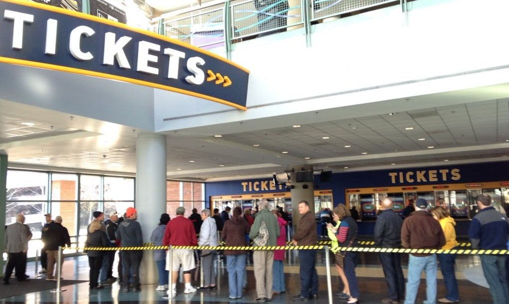 Bruce Springsteen wait in line at 10 a.m. Dec. 11, when tickets to see The Boss in Buffalo went on sale. (Sharon Cantillon/Buffalo News)