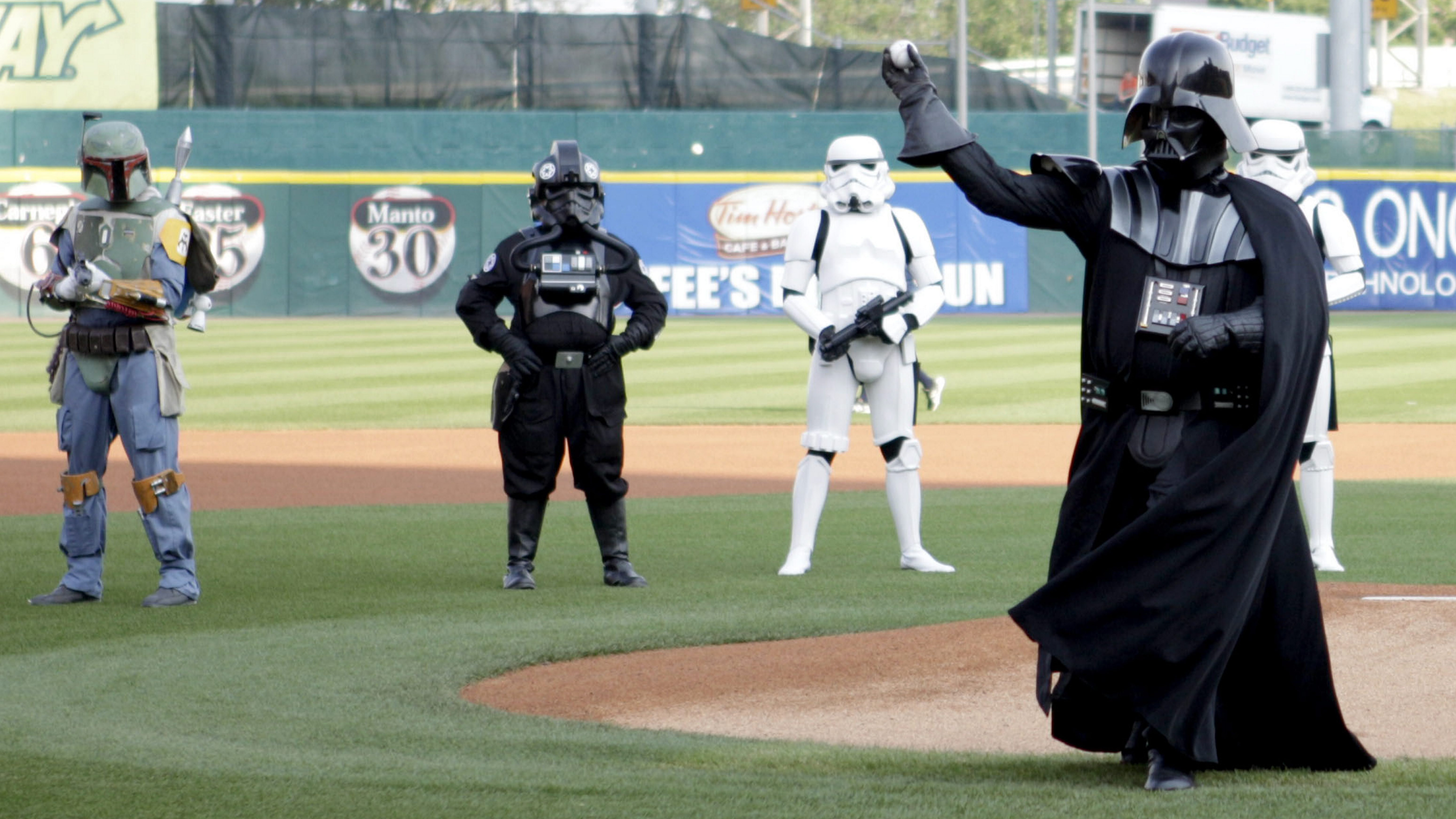 Where else besides Buffalo would Darth Vader toss out the first pitch for a baseball game? (News file photo)